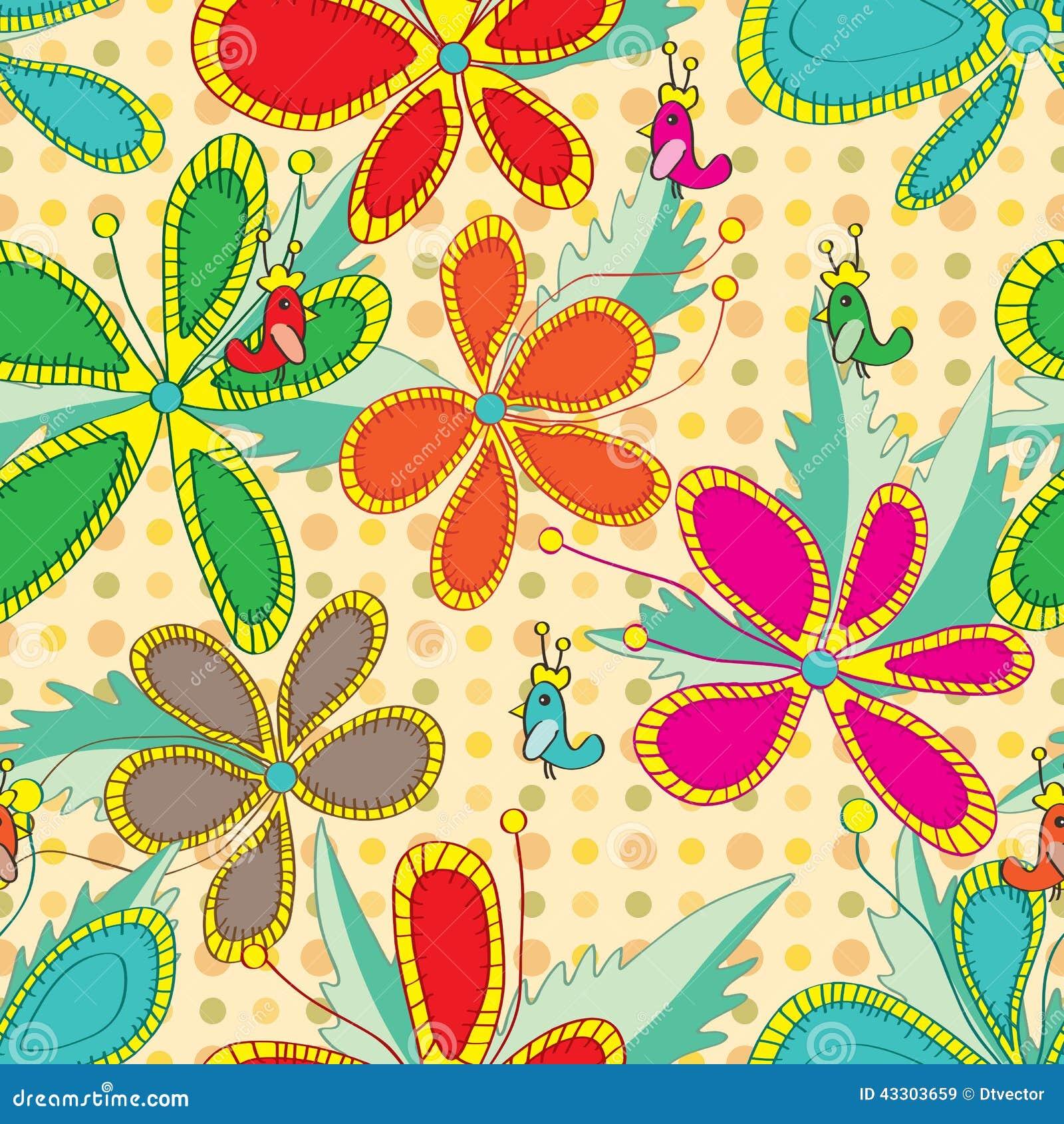 Blumen Die Art Farbnahtloses Muster Zeichnen Vektor Abbildung