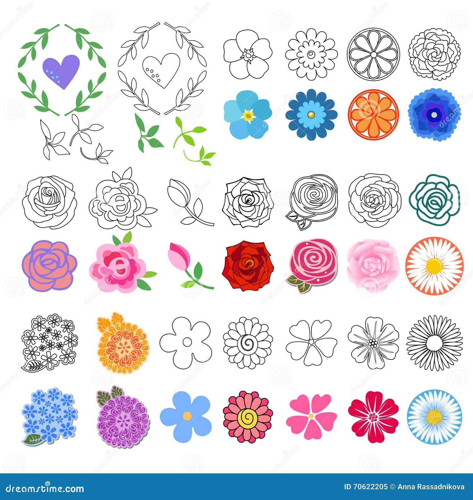 Blumen Eingestellt (verschiedene Arten Gezeichnet) Vektor Abbildung - Illustration Von Buch ...