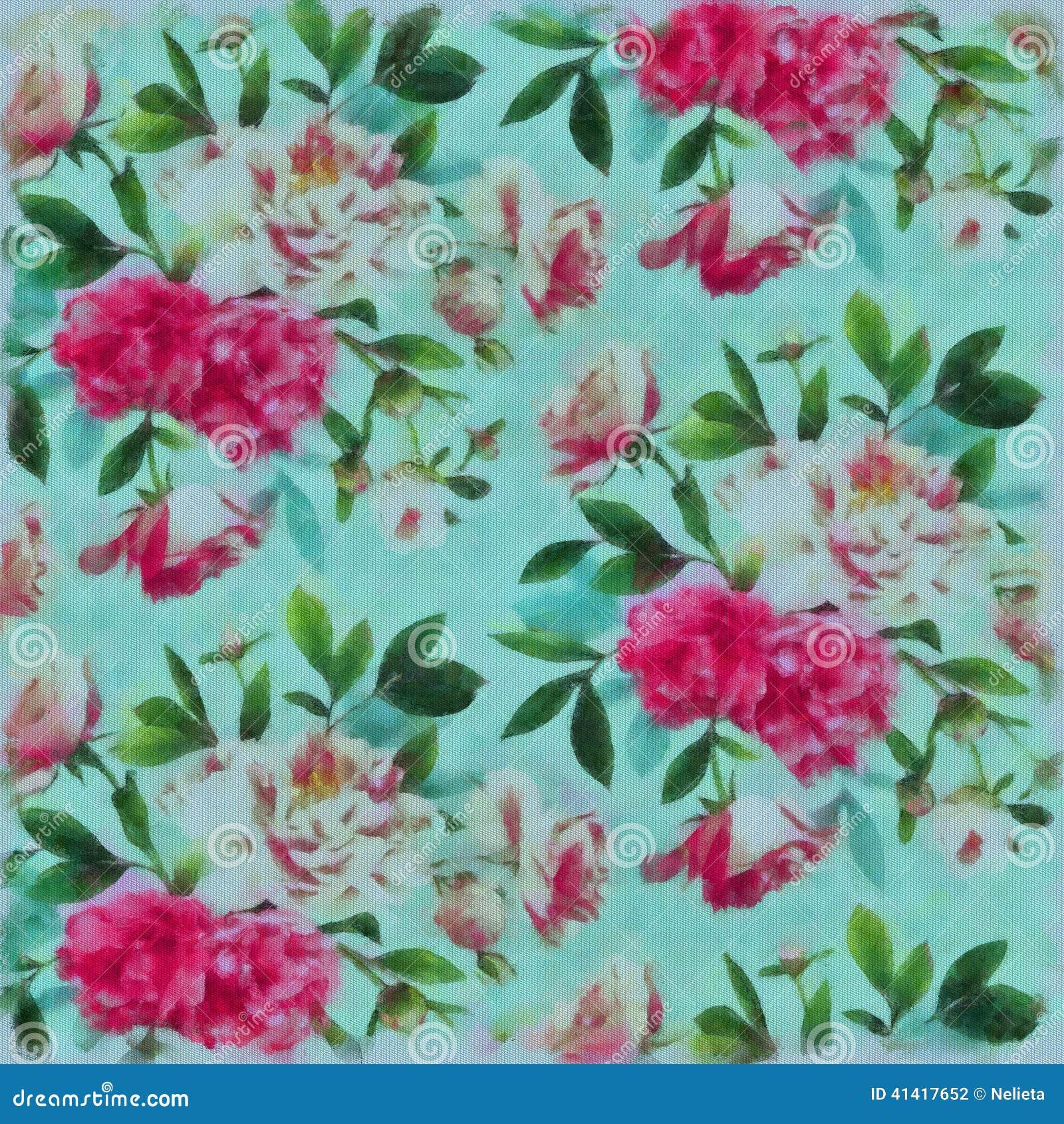blumen gemalt auf gewebe mit watercolours stockfoto bild von watercolors beschaffenheit 41417652. Black Bedroom Furniture Sets. Home Design Ideas