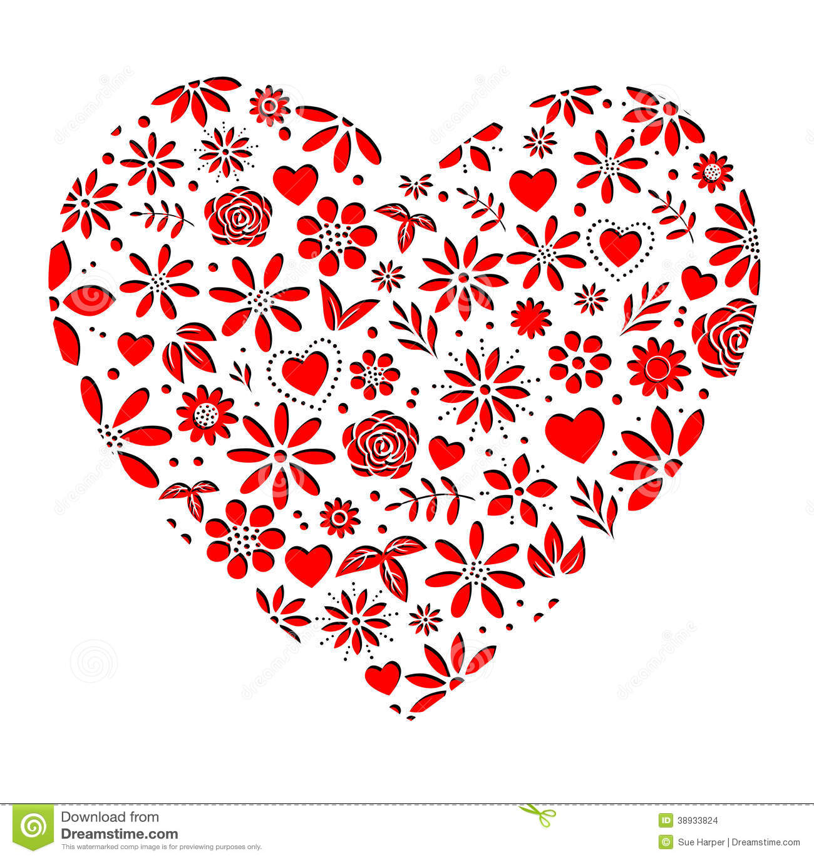 blumen herz rot ausschnitt vektor abbildung bild 38933824. Black Bedroom Furniture Sets. Home Design Ideas
