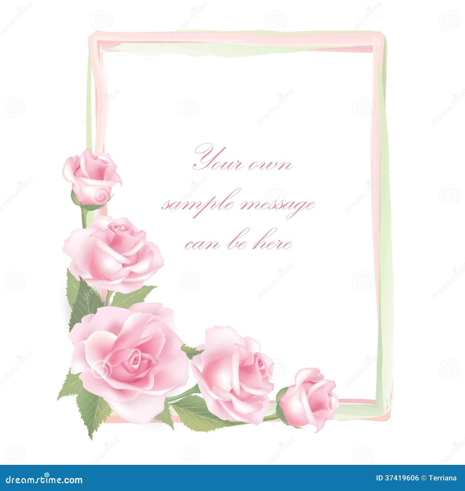 blumen rosen rahmen lokalisiert auf wei em hintergrund blumenvektordekor lizenzfreies. Black Bedroom Furniture Sets. Home Design Ideas