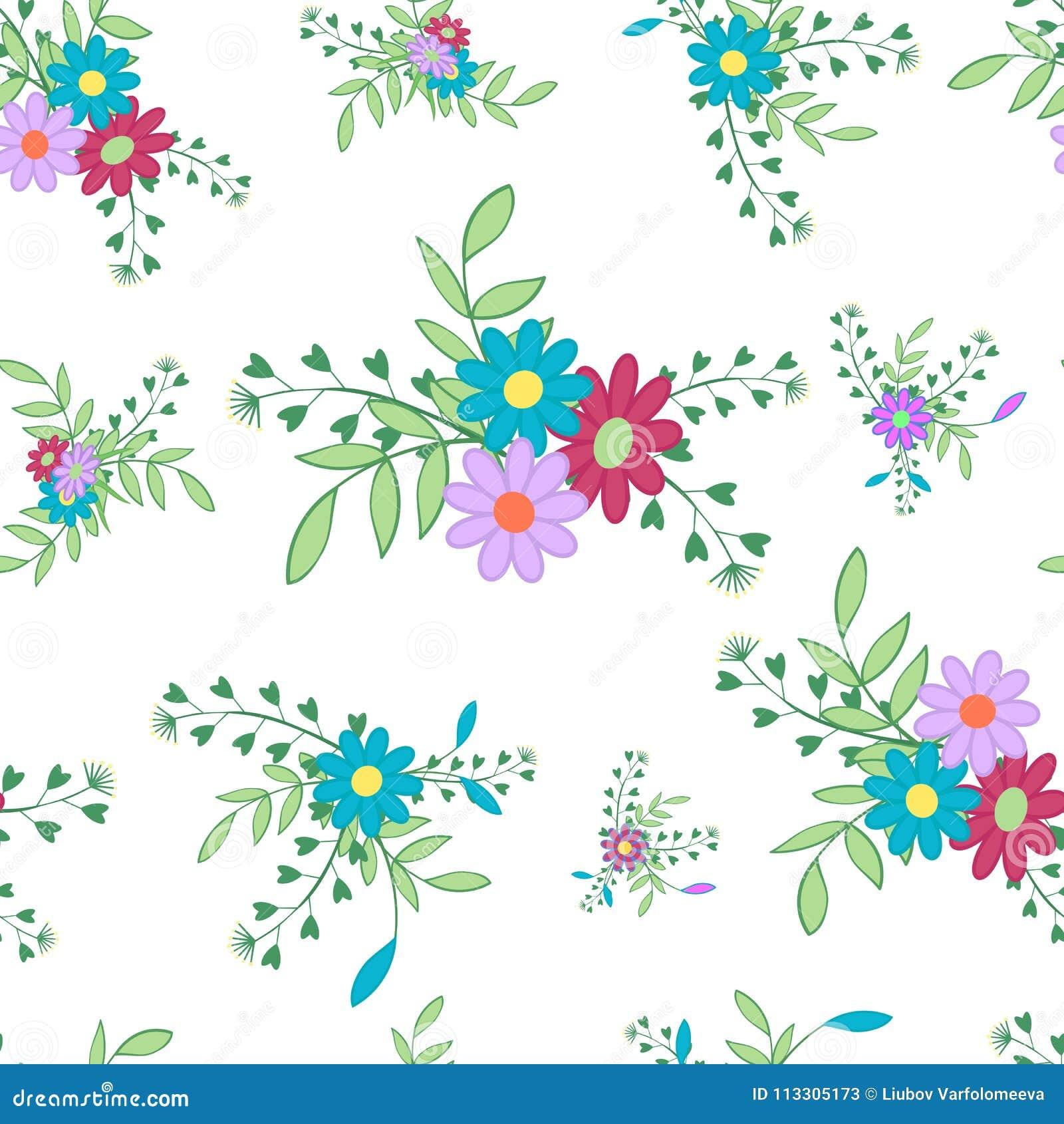 Blumen- und Blatt5 Weiß