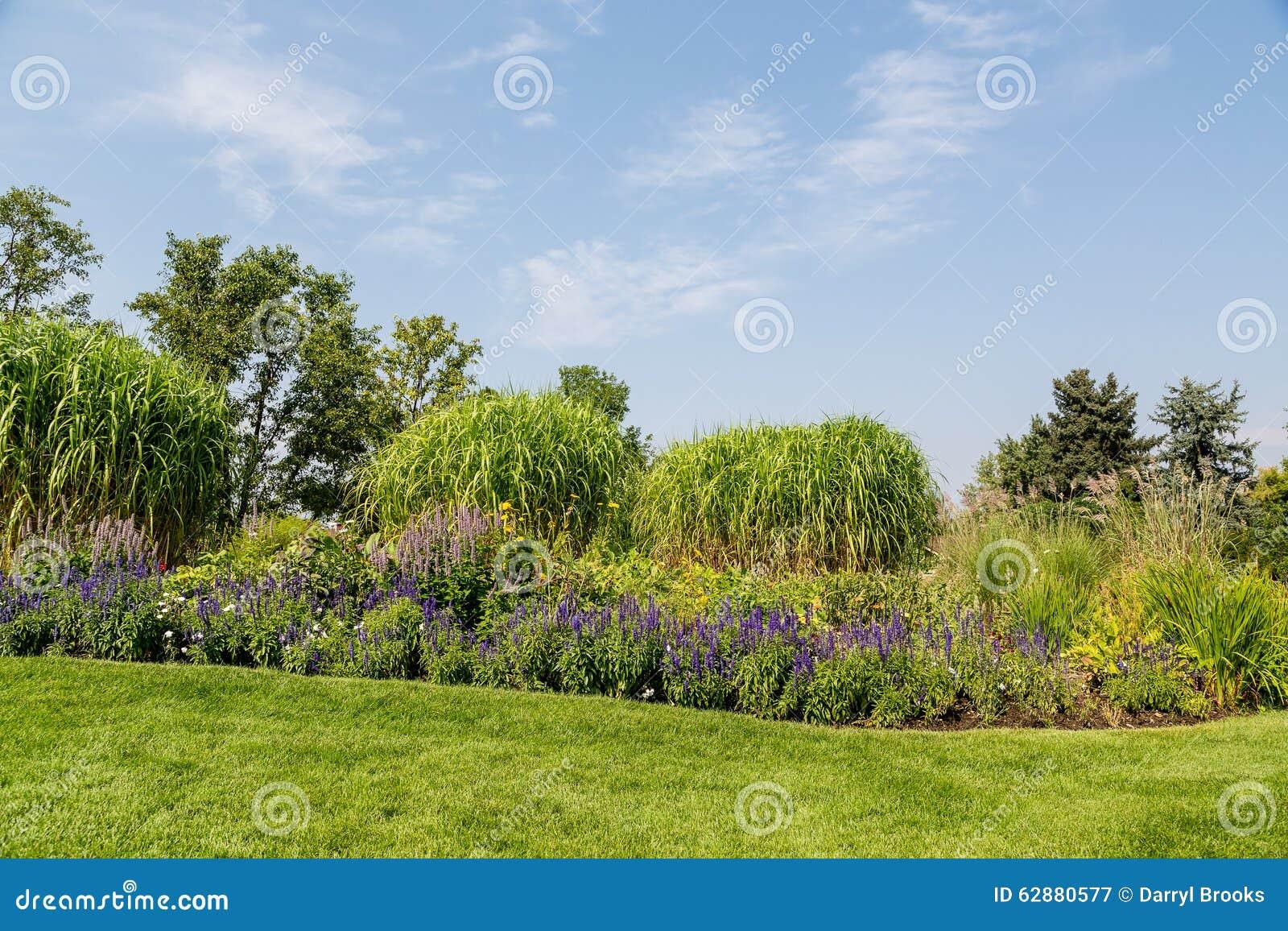 blumen und b ume auf landschaftlich gestaltetem garten h gel stockfoto bild 62880577. Black Bedroom Furniture Sets. Home Design Ideas