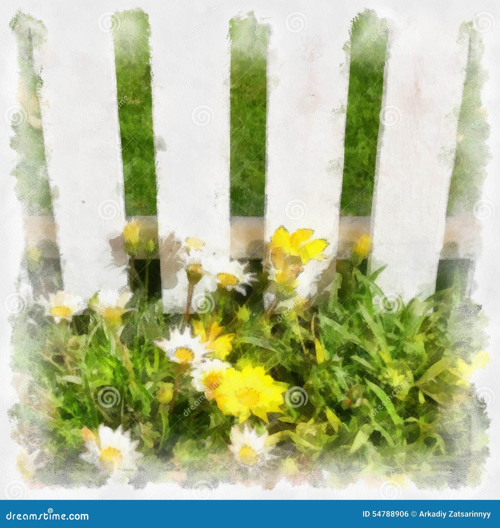 Blumen und Gras am weißen Zaun Nachahmung der Zeichnung