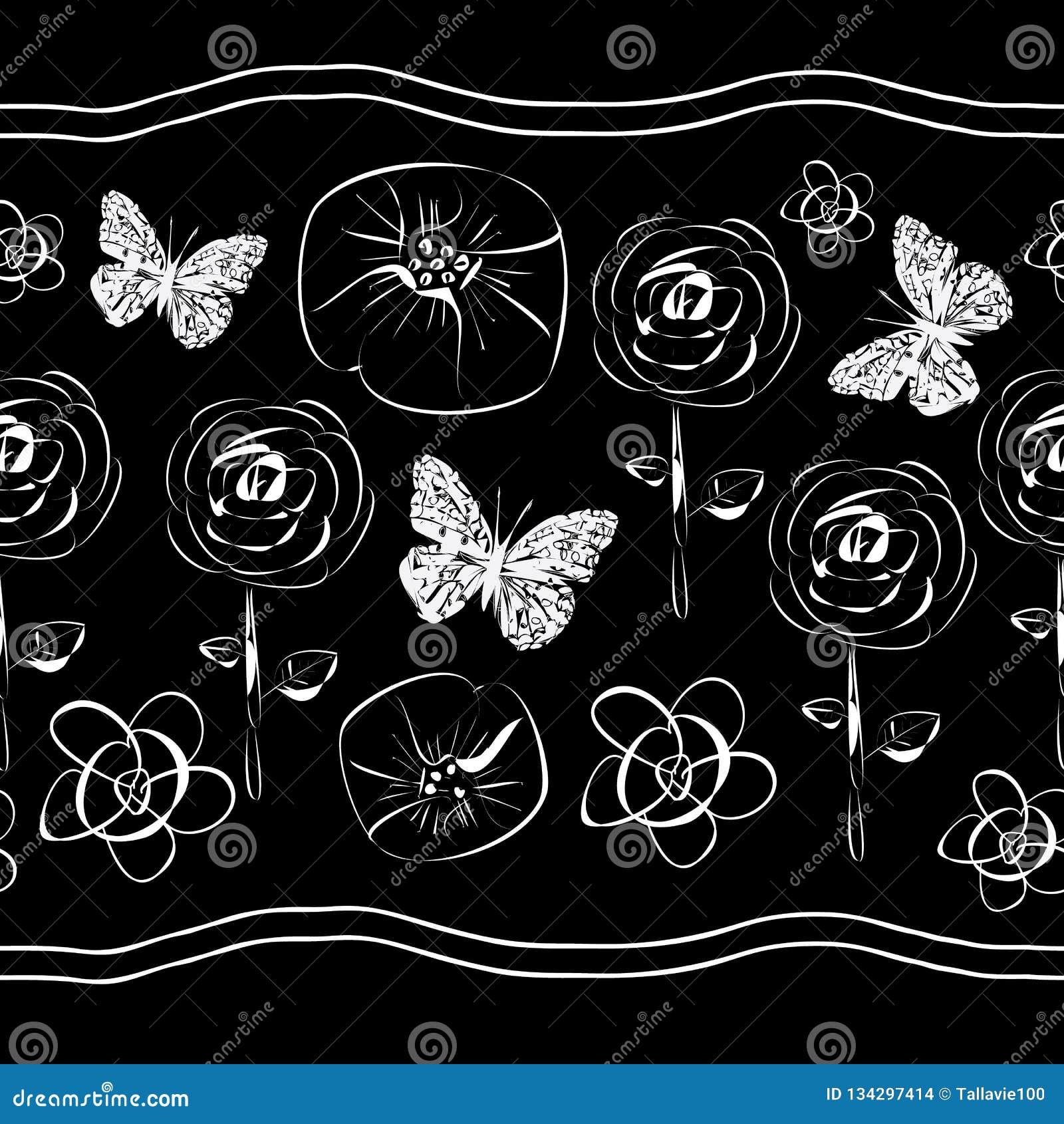 Blumen und Schmetterling-Blumen in Blüte seamles Wiederholungs-Muster Hintergrund in Schwarzweiss