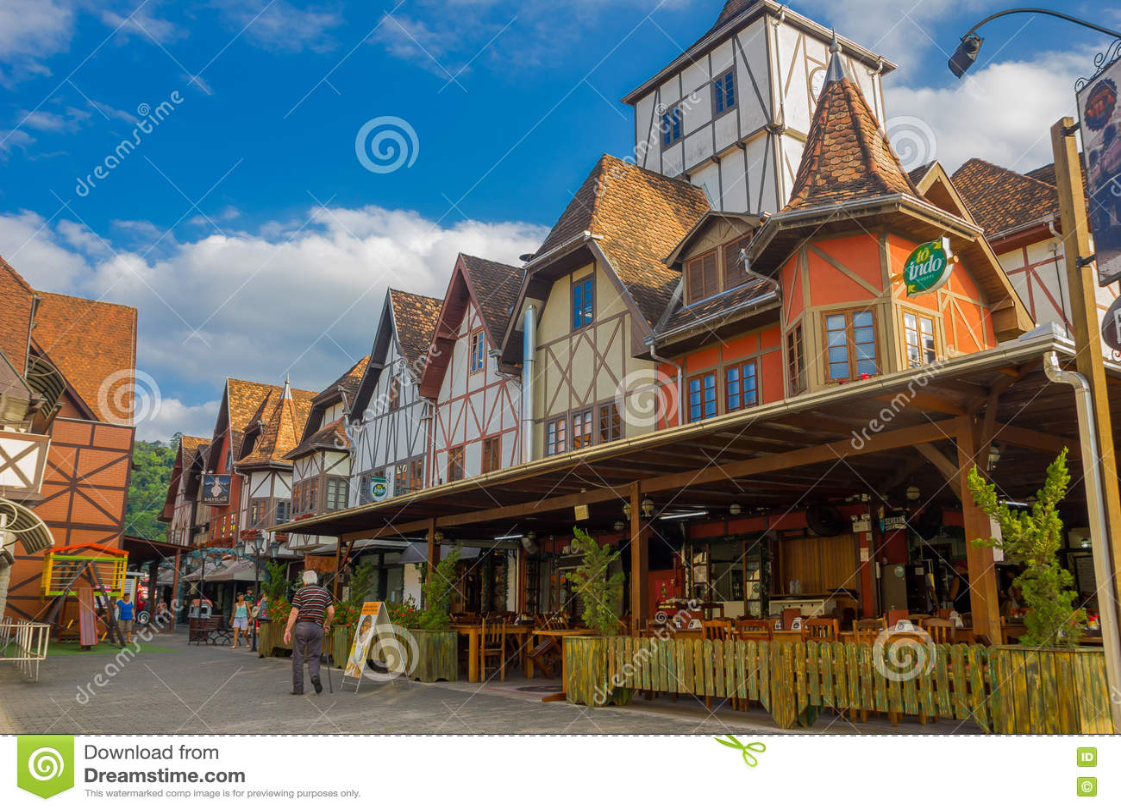 BLUMENAU, BRAZIL - MAY 10, 2016: nice local restaurant in the corner of the street, german style houses