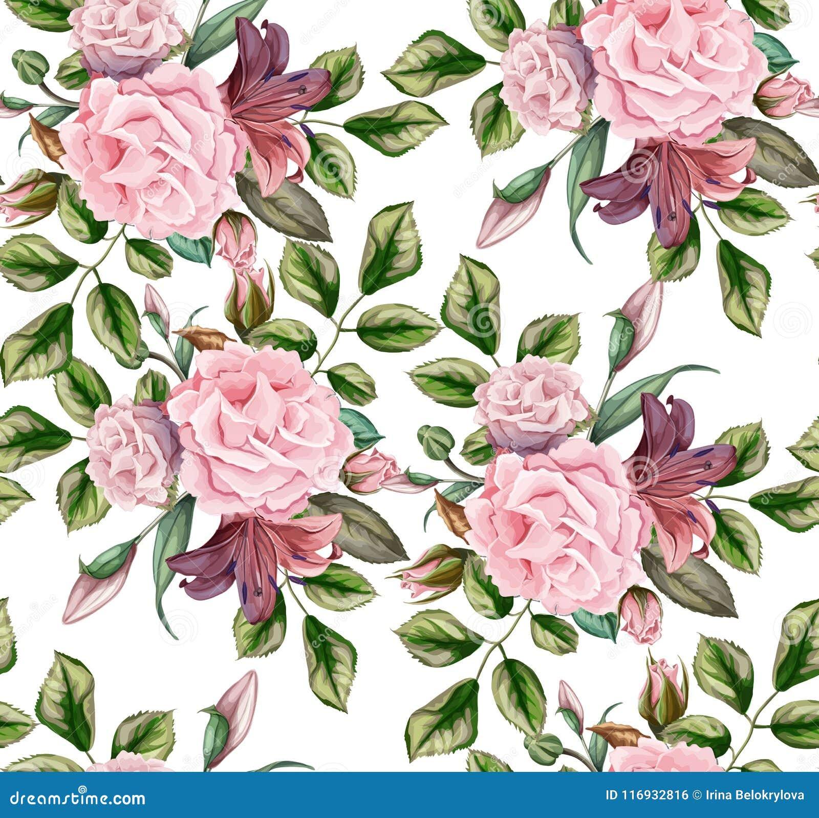 Blumenblüten-Blattes des Vektors nahtloses Muster des rosafarbenen