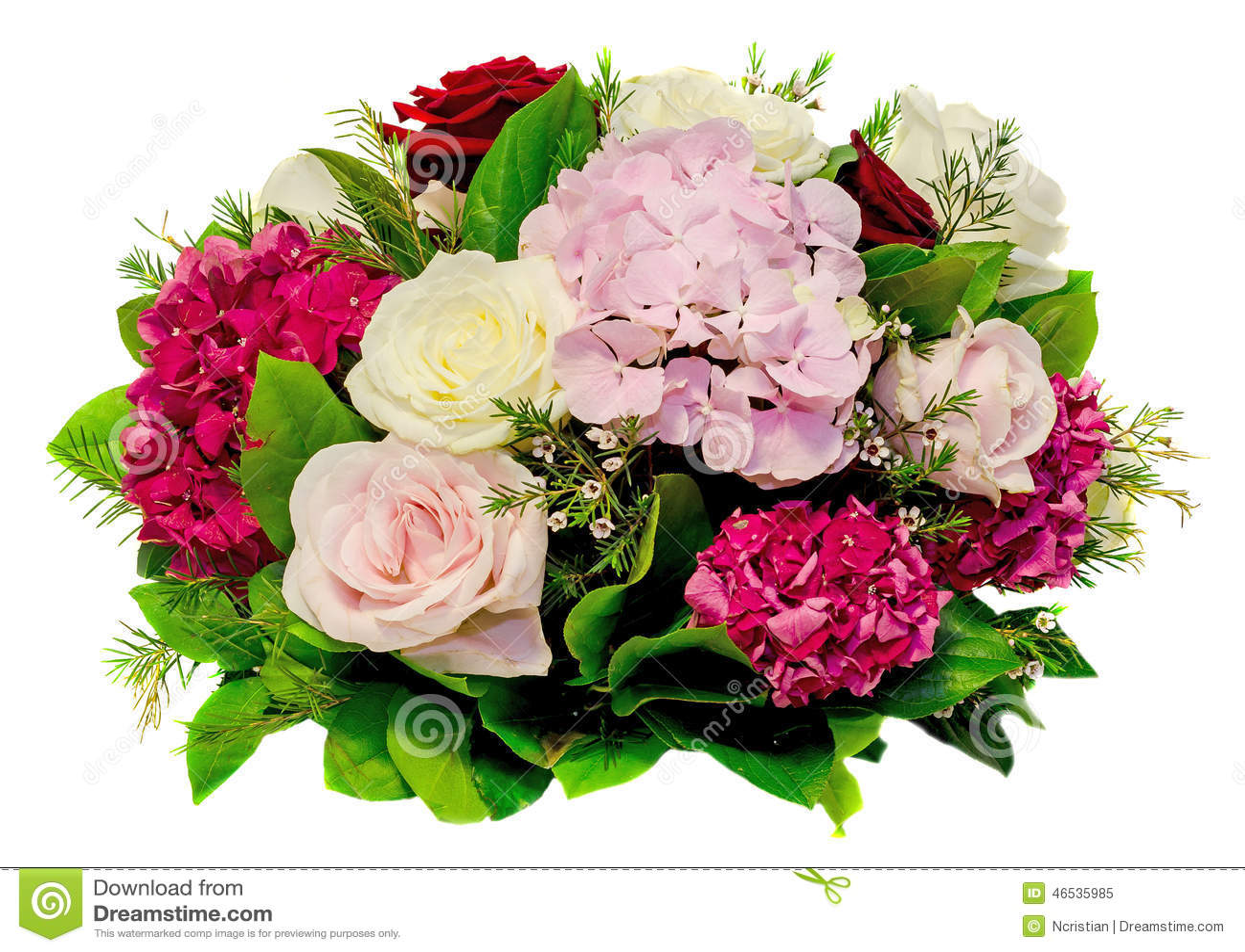 blumengesteck blumenstrau mit wei rosa gelbe rosen und purpurroter hortensia hortensie. Black Bedroom Furniture Sets. Home Design Ideas