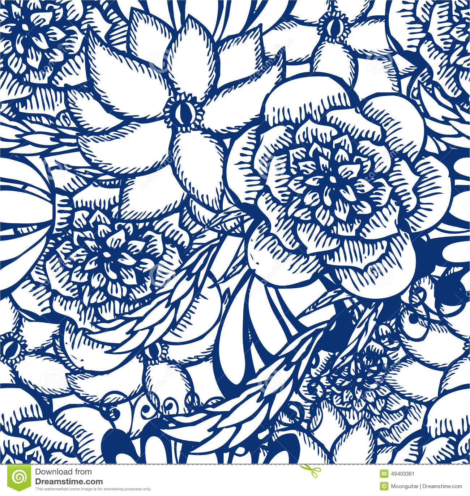 Download Blumenhand Gezeichnetes Nahtloses Muster In Der Tätowierungsart Vektor Abbildung - Illustration von kunst, schwarzes: 49403361