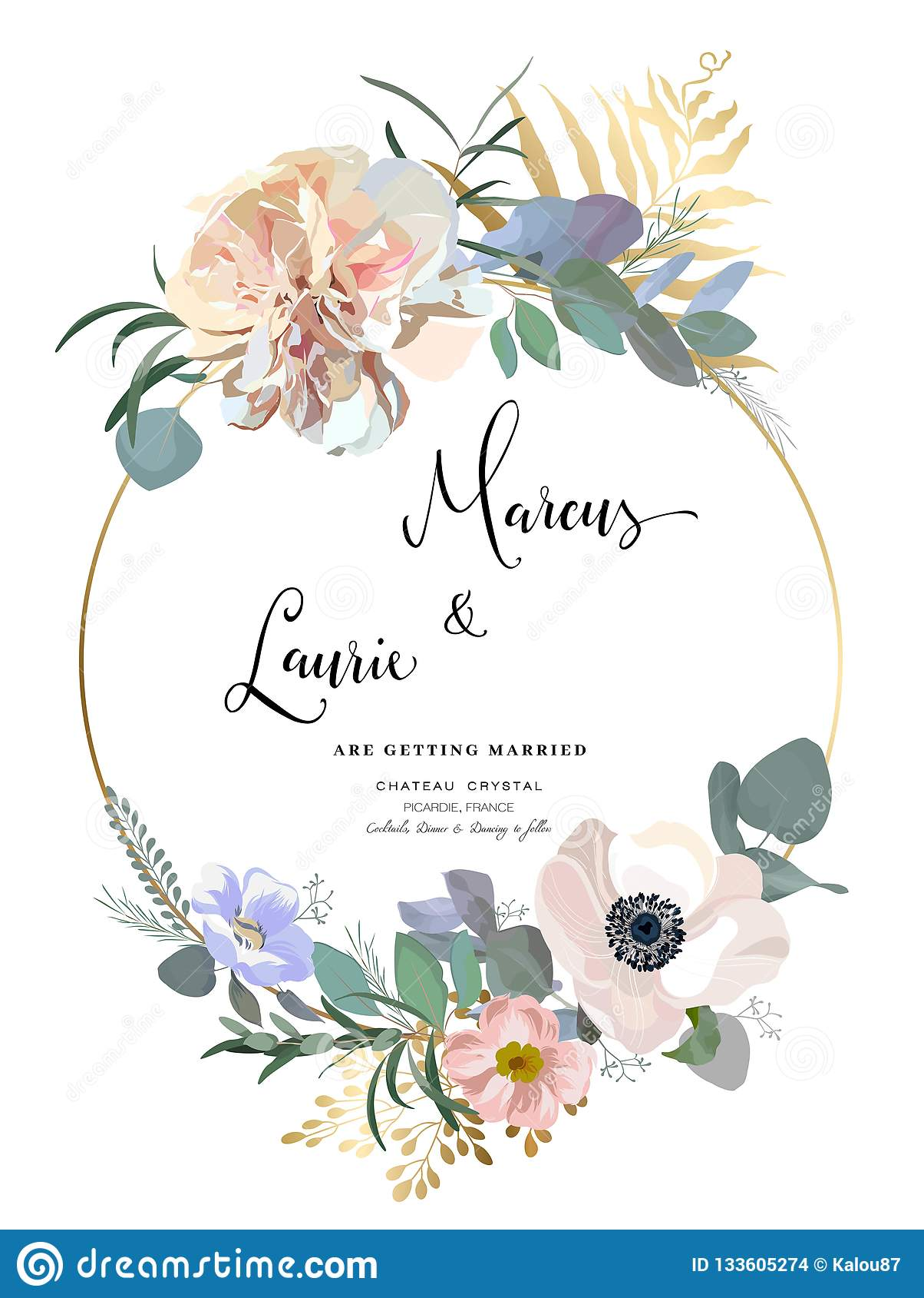 Blumenhochzeits-Einladung Elegante rosa Gartenrose, Pfingstrose, Anemone, Eukalyptusniederlassungen, Blätter Rand der Farbband-,