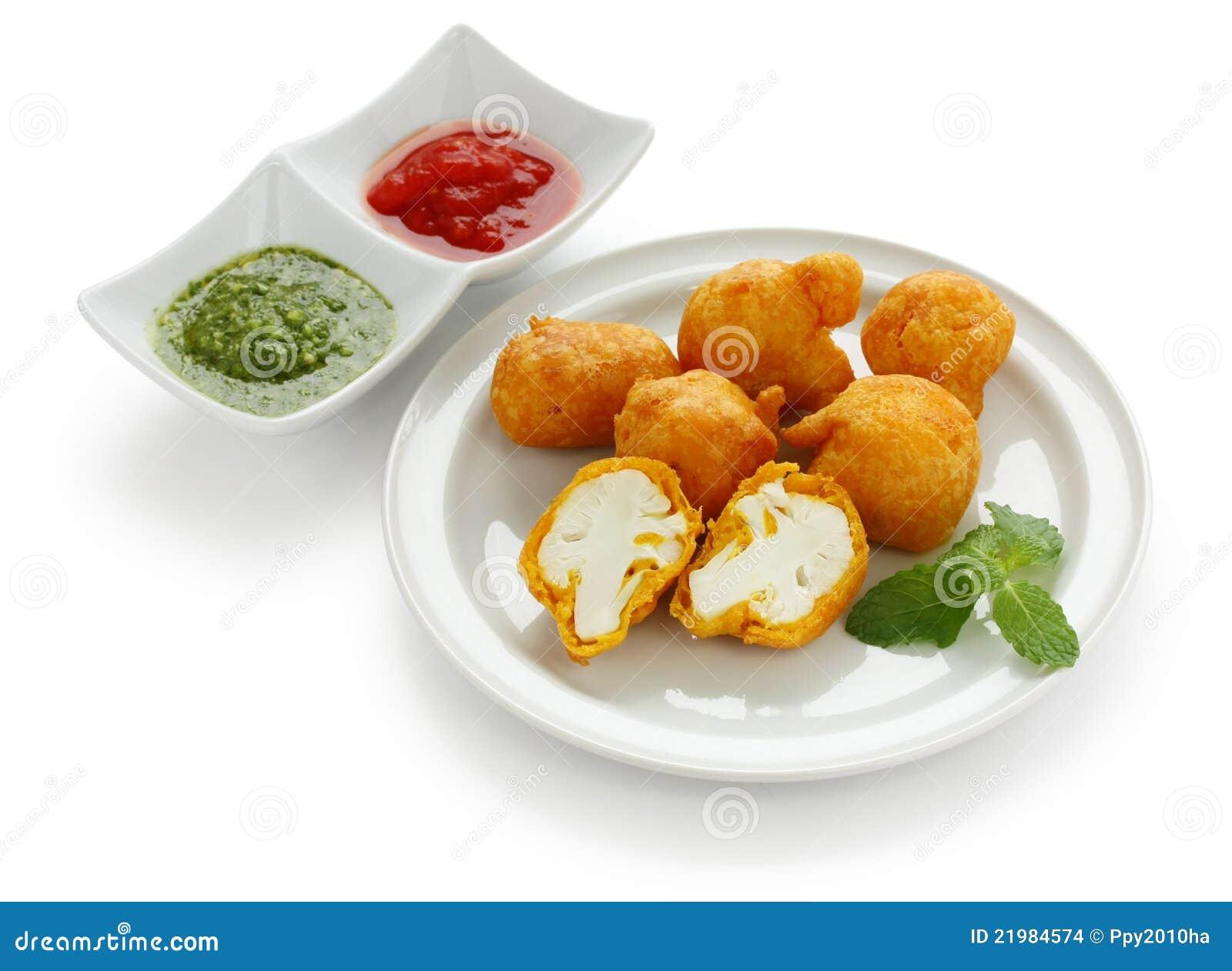 blumenkohl pakora, indische küche lizenzfreies stockfoto - bild