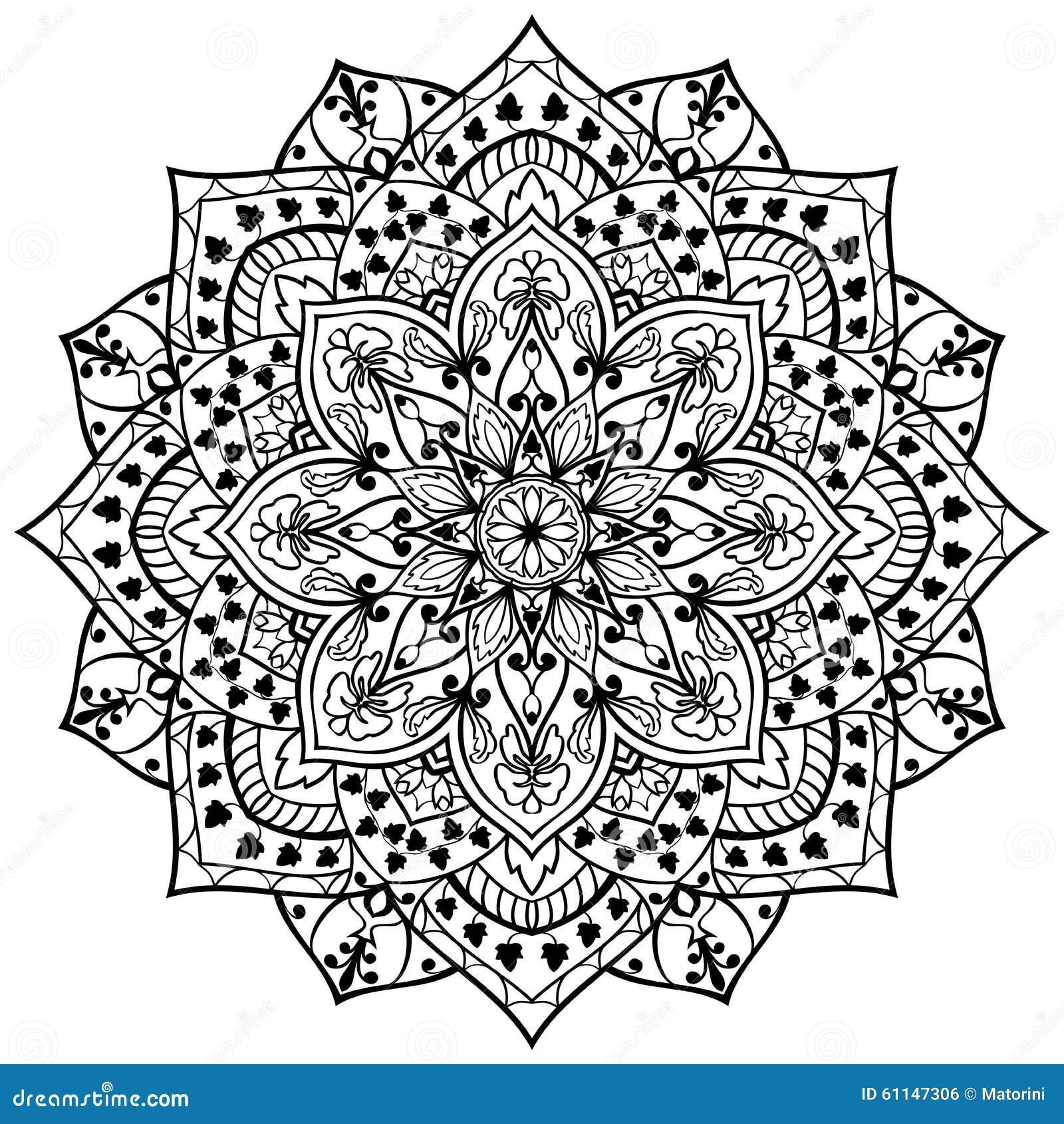 Blumenmandala Von Schwarzen Linien Vektor Abbildung - Bild ...