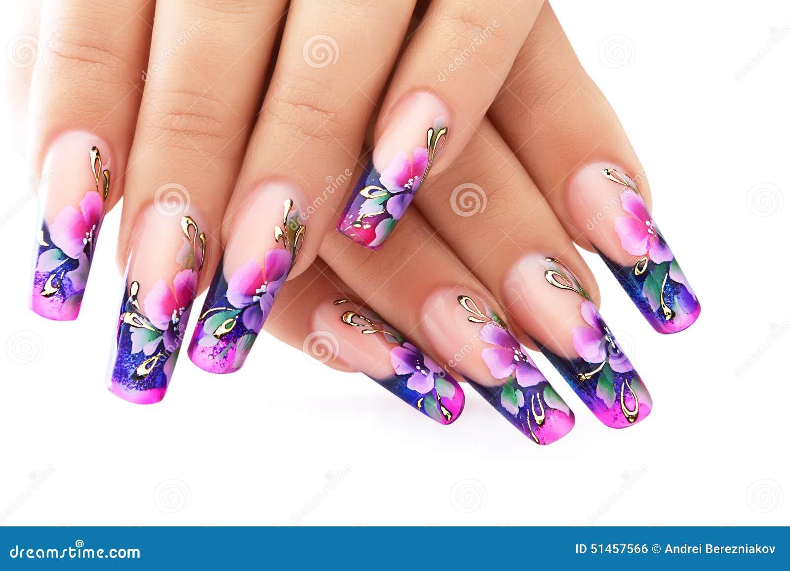 Blumenmuster auf Nägeln stockfoto. Bild von französisch - 51457566