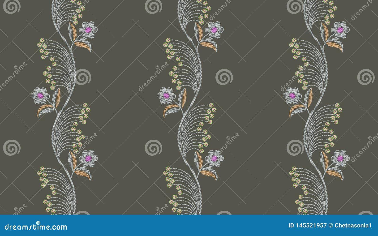 Blumenmuster der nahtlosen Stickerei