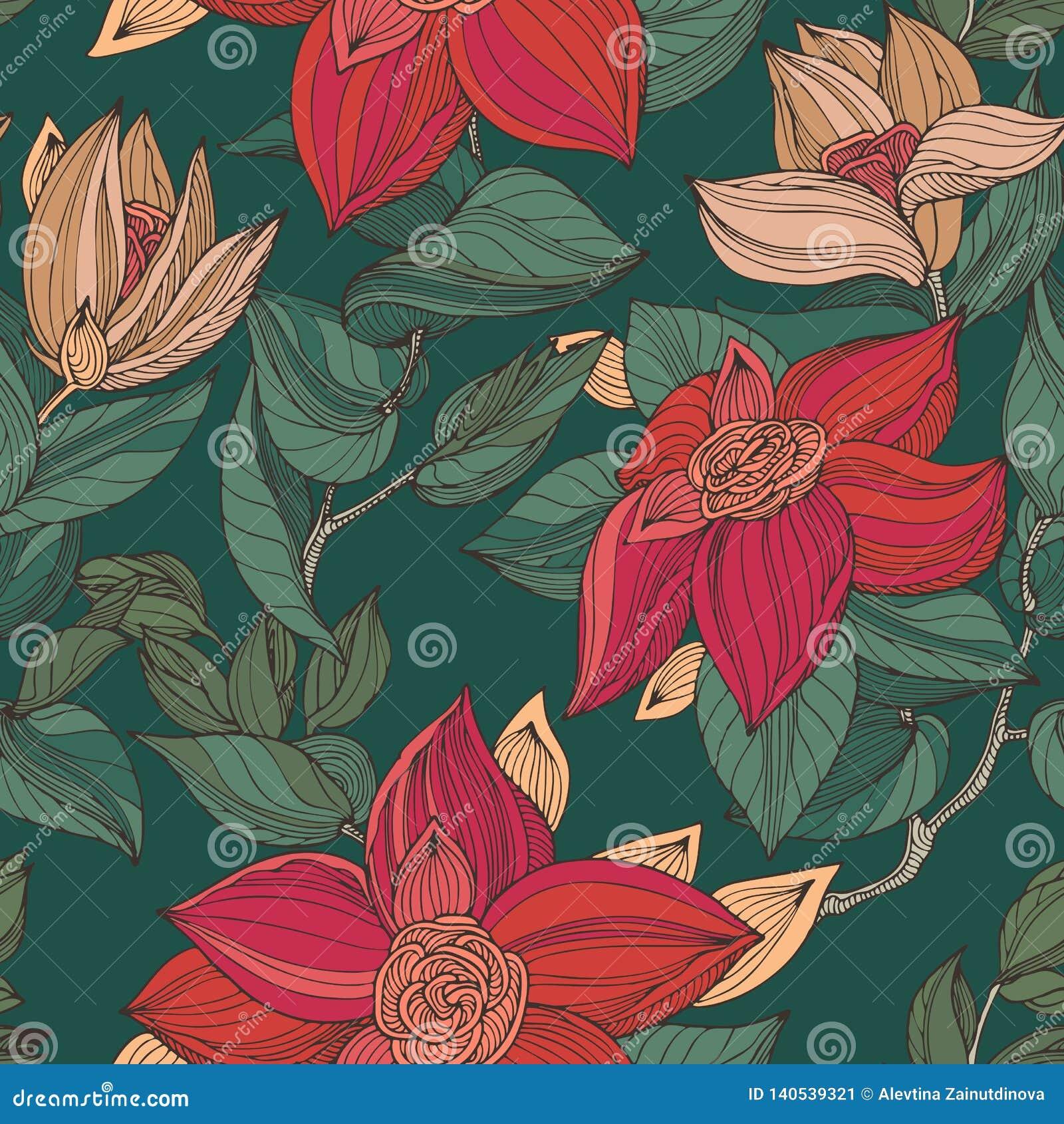 Blumenmuster der roten, beige und grünen nahtlosen Weinlese