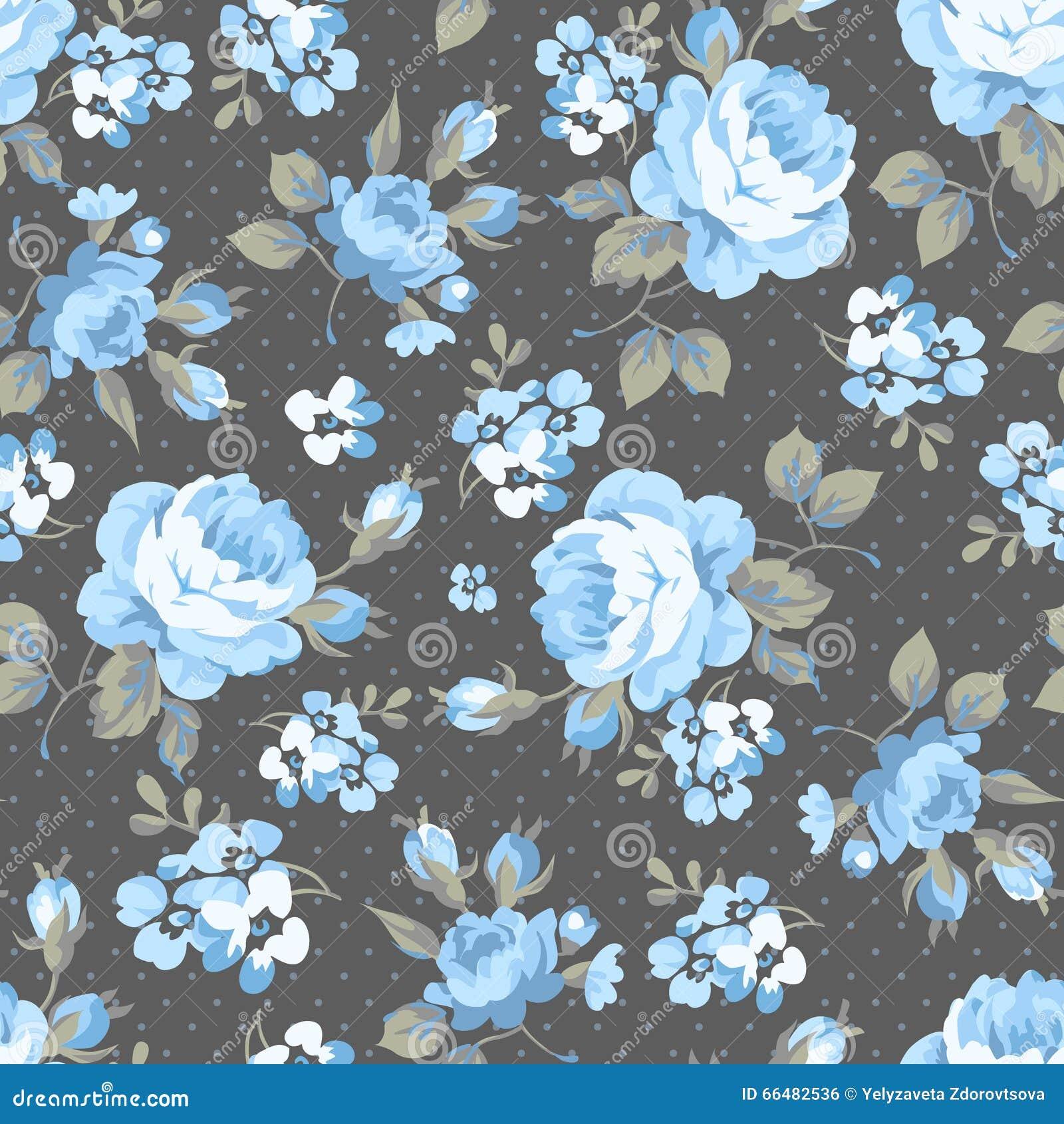 750ffd49b36c Blumenmuster Mit Blauen Rosen Vektor Abbildung - Illustration von ...