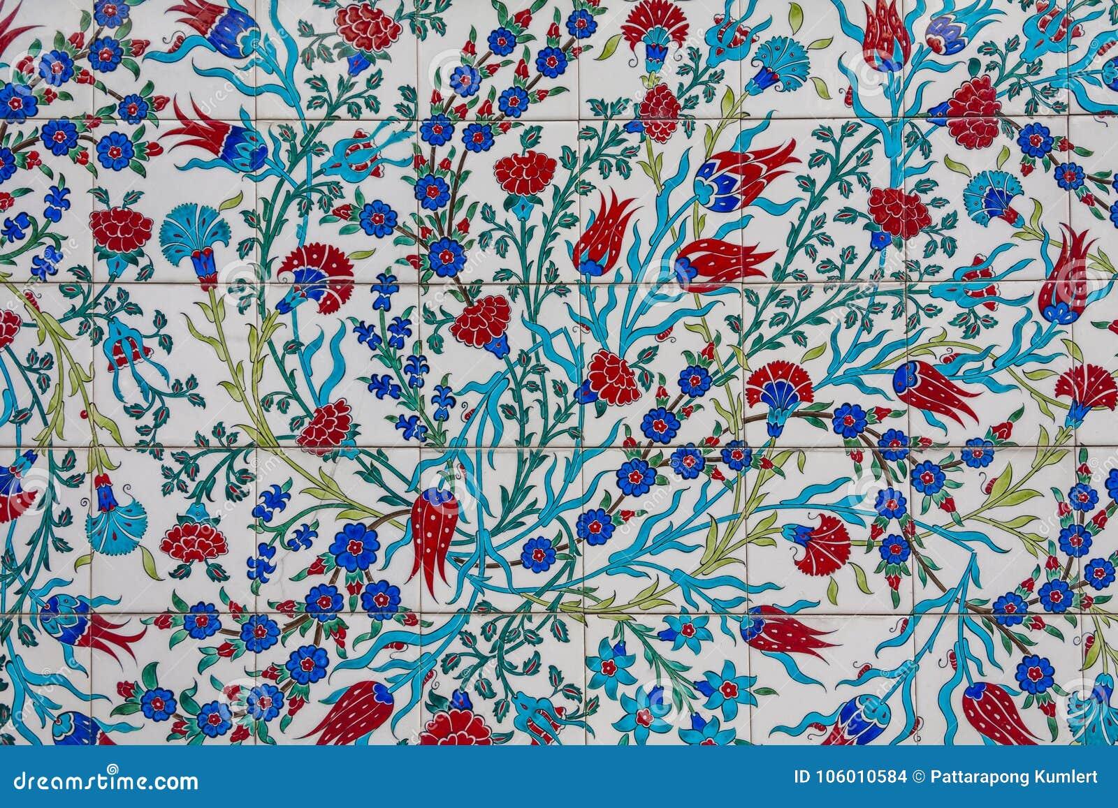 Blumenmustertürkische Fliesetürkische Fliesen Stockfoto Bild Von - Fliesen auf türkisch