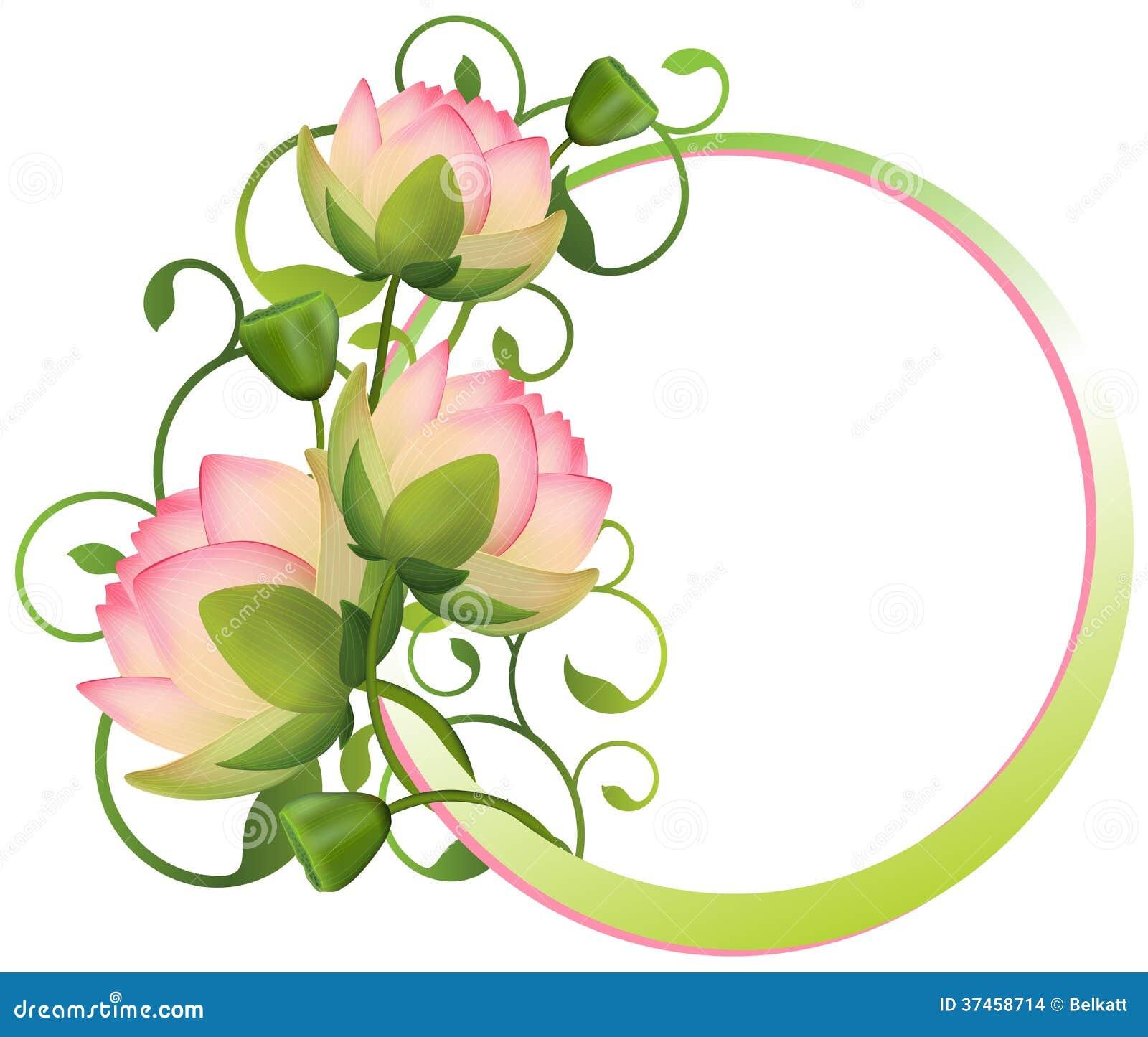 Blumenrahmen. Lotos Blume vektor abbildung. Illustration von karte ...