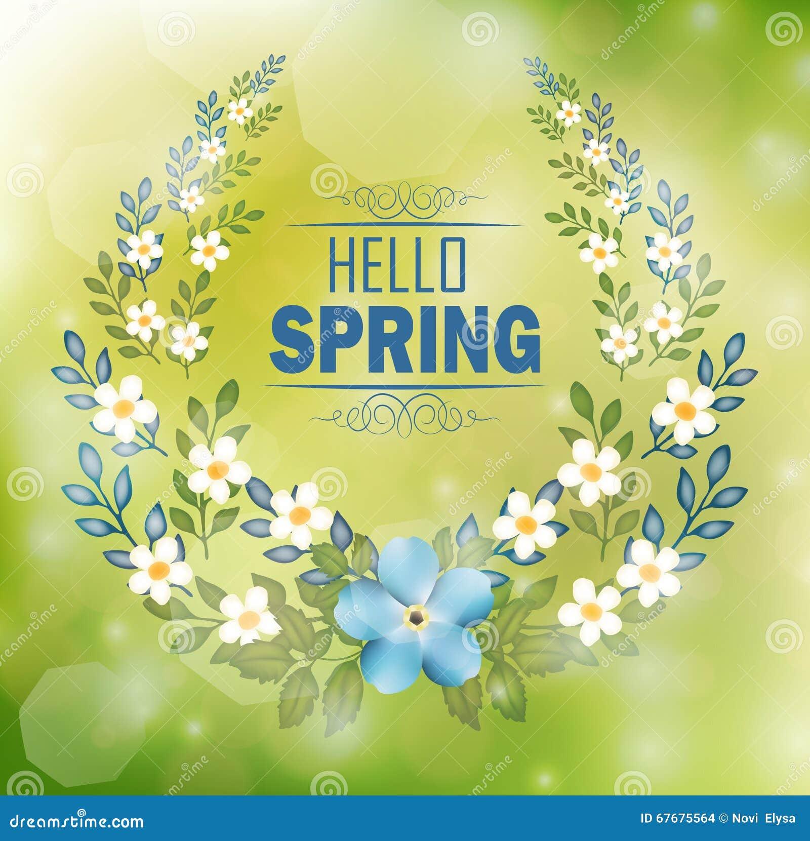 Blumenrahmen Mit Texthallo Frühling Und Bokeh Hintergrund Vektor ...