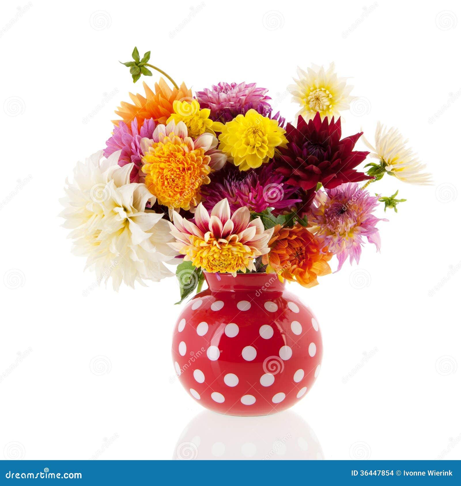blumenstrau dahlien im roten vase stockfoto bild von vase gelb 36447854. Black Bedroom Furniture Sets. Home Design Ideas