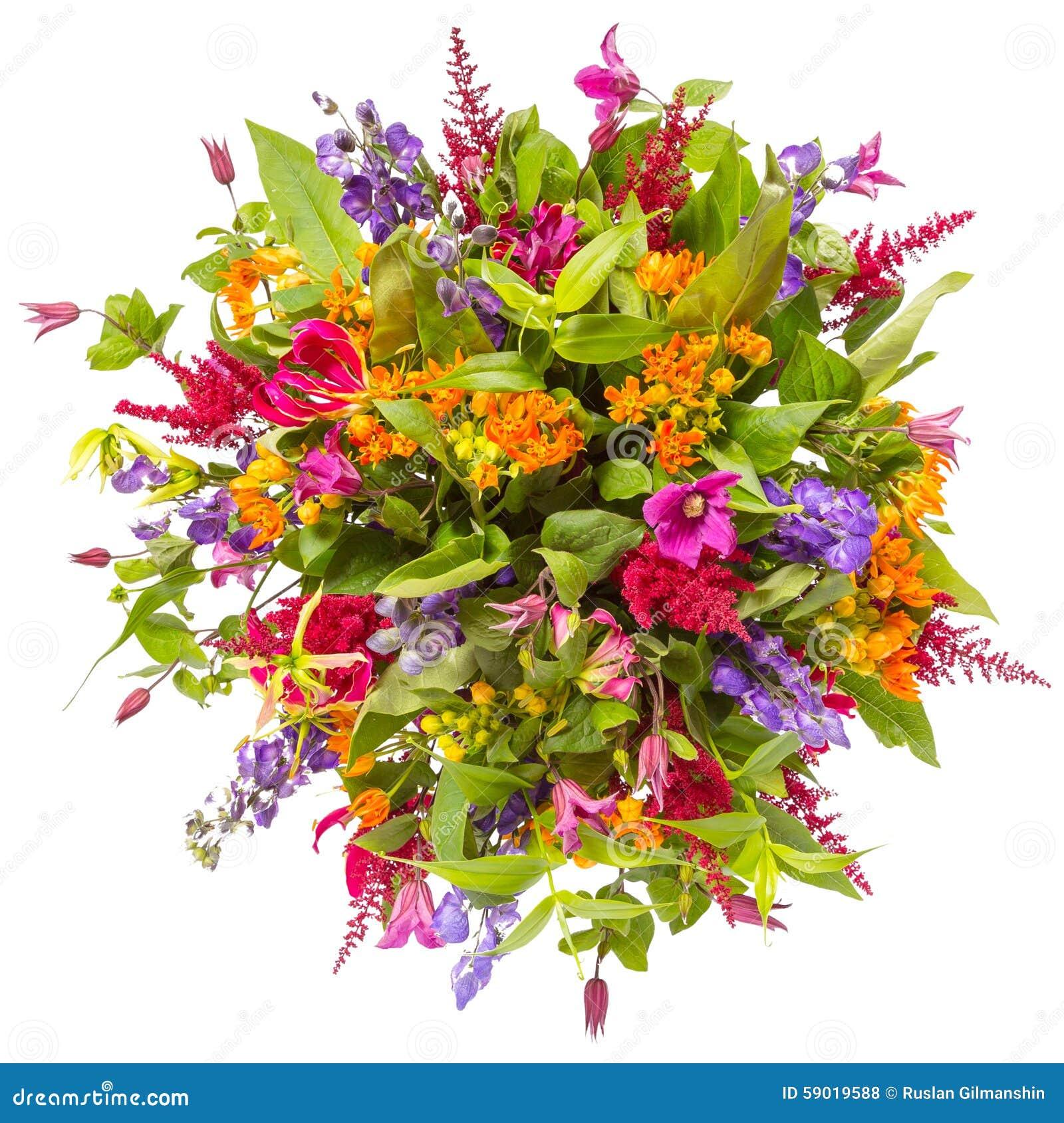 Blumenstrauß der Draufsicht der Blumen lokalisiert auf Weiß