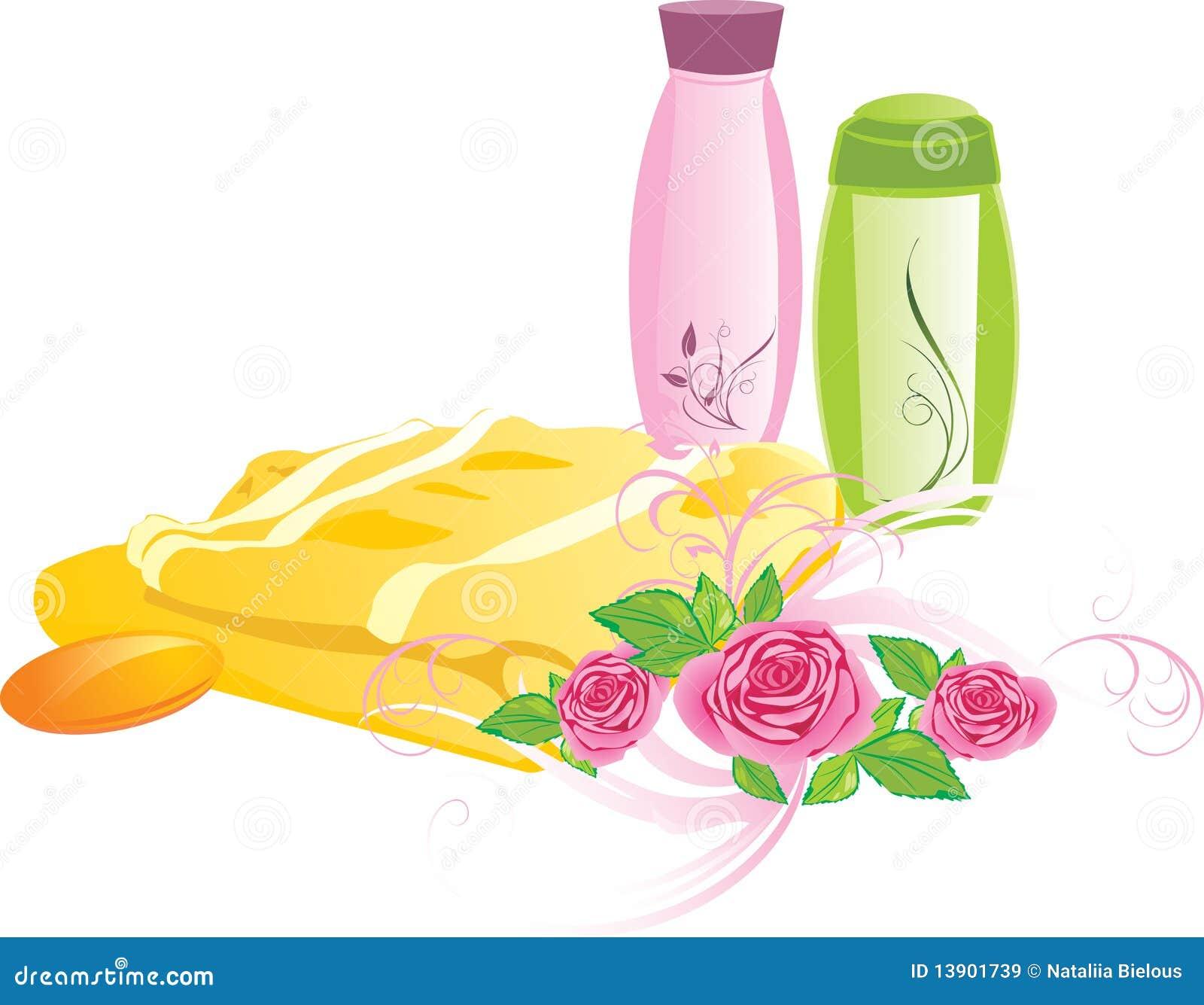 Blumenstrauß der Rosen und des Sets für das Baden