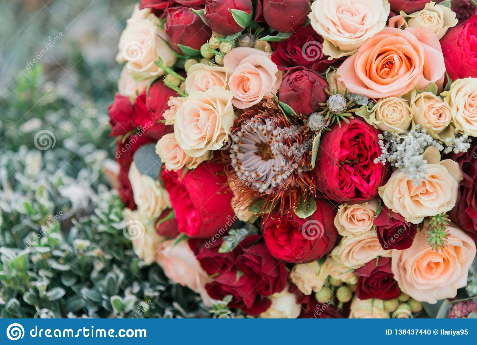 Blumenstrauß von Blumen Das bride& x27; s-Blumenstrauß Hände der Braut und des Bräutigams Floristics