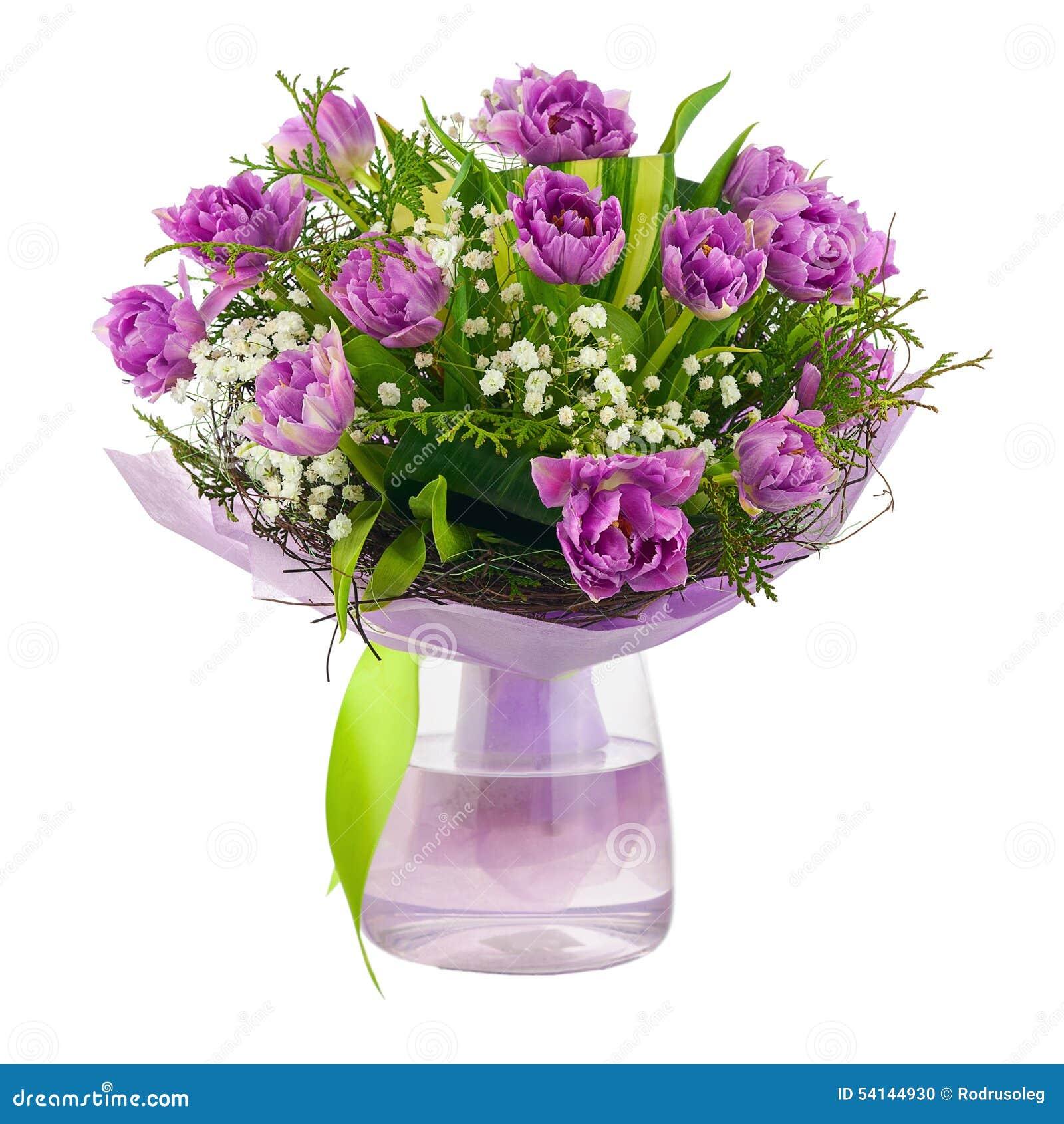 blumenstrau von lila tulpen und von anderen blumen stockfoto bild 54144930. Black Bedroom Furniture Sets. Home Design Ideas