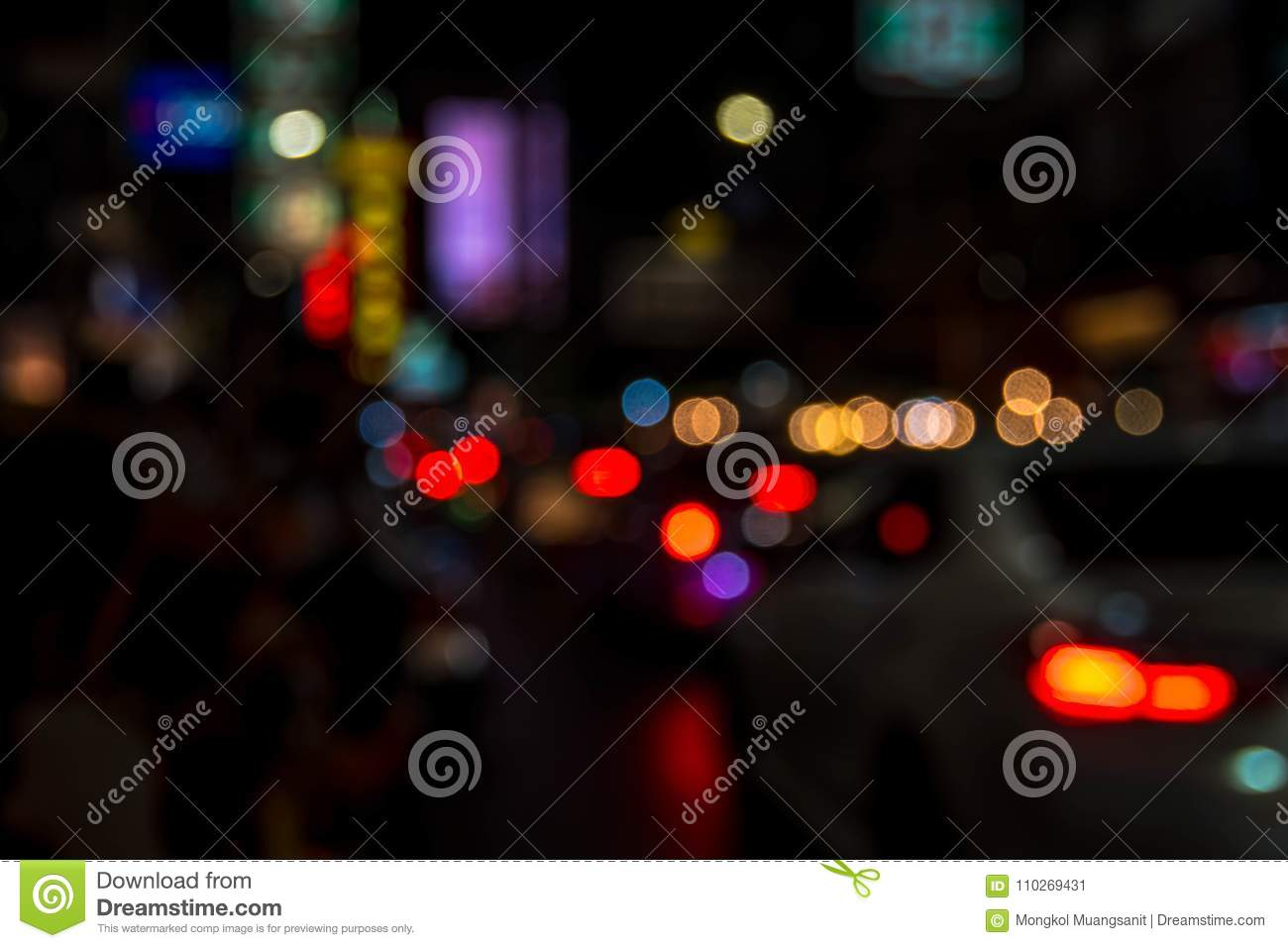 Blur Abstract Bokeh Of Street City Night Light Background Stock Image Image Of Circle Motion 110269431