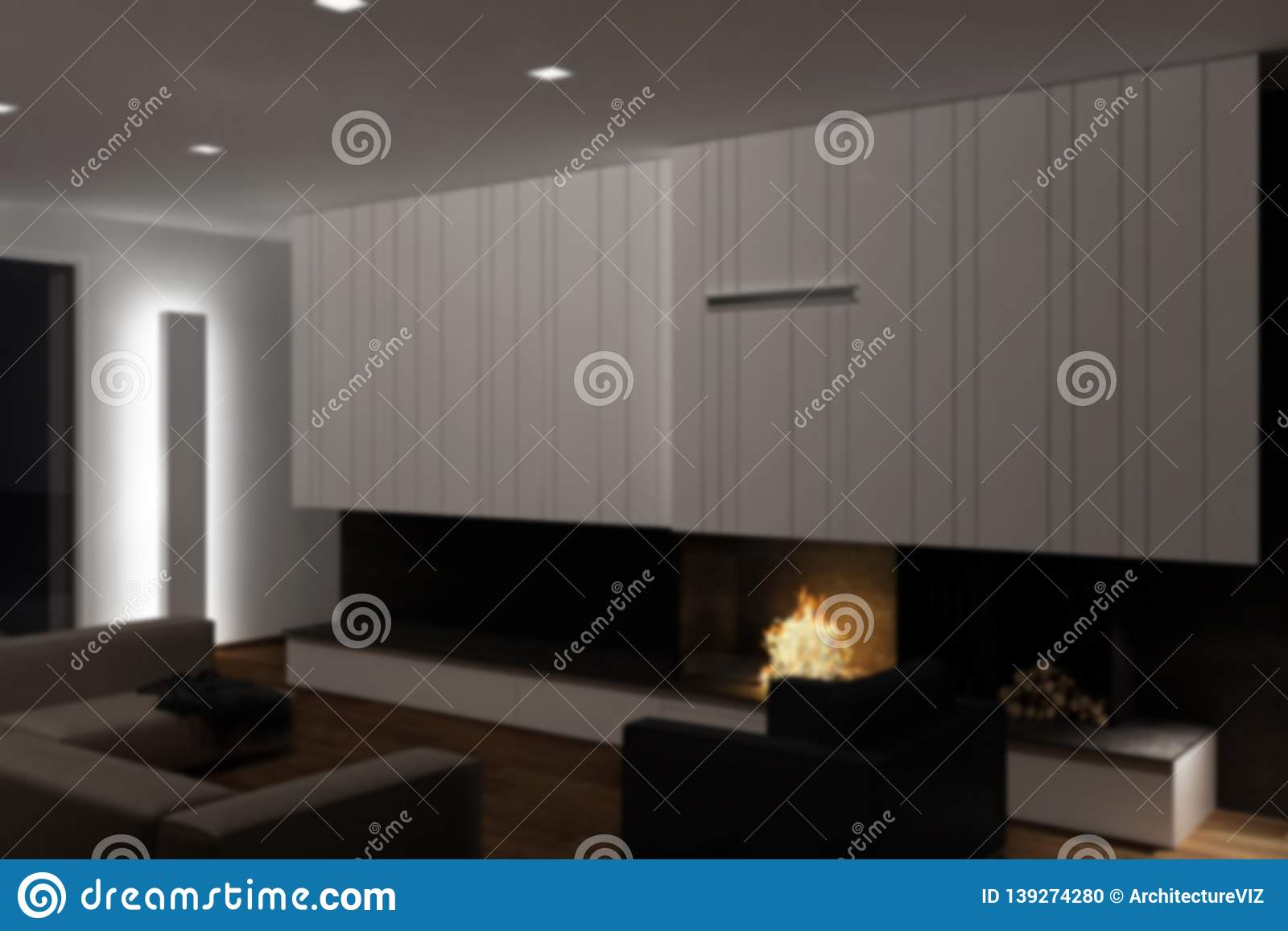Blur background interior design, modern minimalist furniture with fireplace in contemporary living room with parquet floor, iron