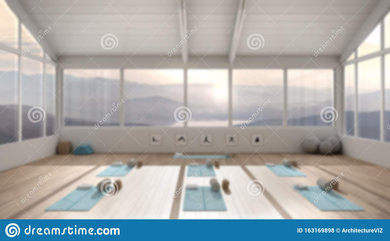 Blur Background Interior Design Empty Yoga Studio Architecture Spatial Organization With Mats And Accessories Panoramic Window Stock Illustration Illustration Of Bright Lifestyle 163169898