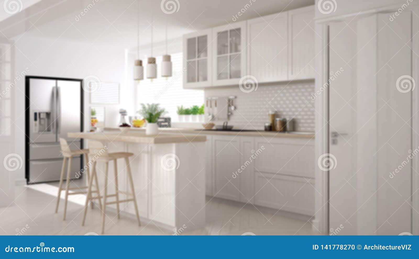 Blur Background Interior Design Modern Scandinavian Kitchen