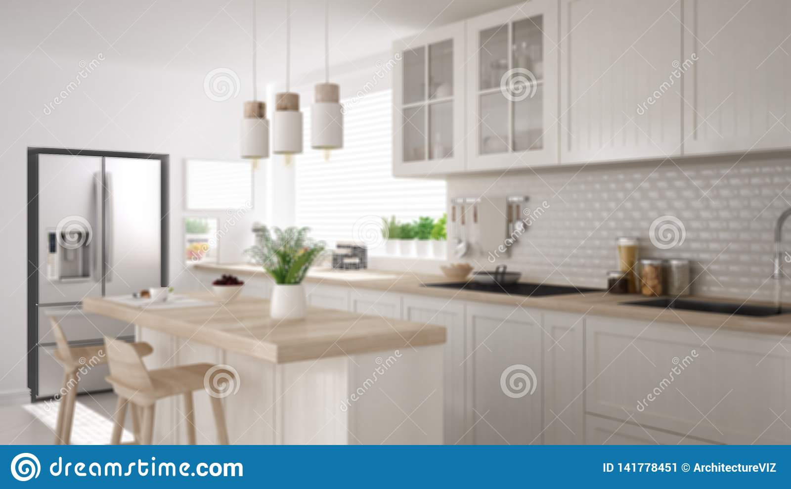 Blur Background Interior Design Modern Scandinavian Kitchen With Island Stools And Pendant Lamps Cabinets And Accessories Stock Illustration Illustration Of White Modern 141778451