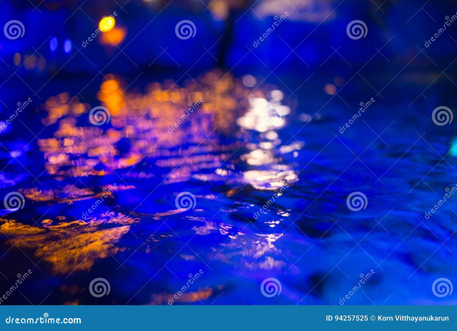 Blur Dark blue water pool moon. deep sea reflect in night time