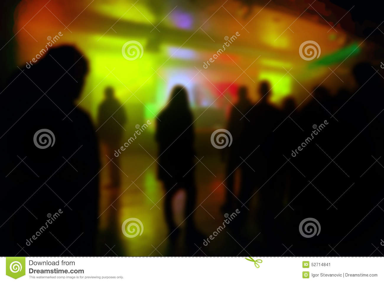 Blur Defocused Silhouettes of Young People on DJ Concert