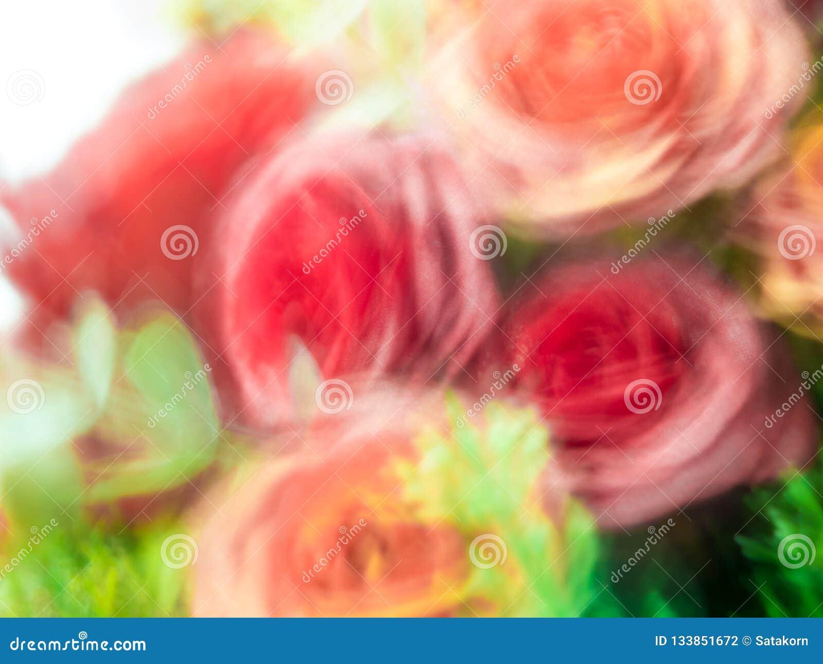 Blur flowers in artificial flower bouquet