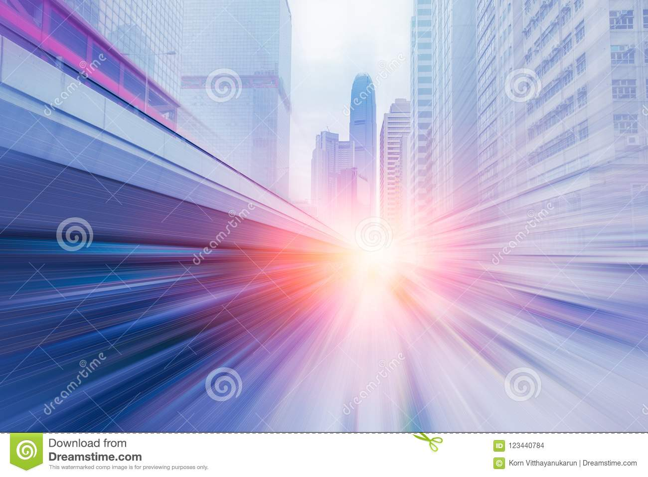 Blur high speed business forward with large capital office