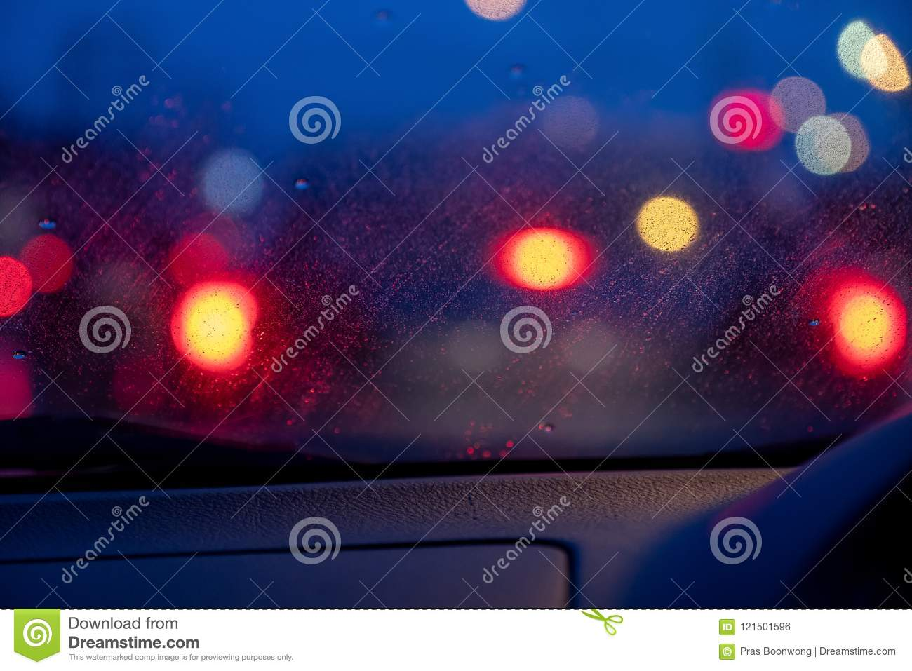 Car Light At Night While It S Raining Stock Photo Image Of