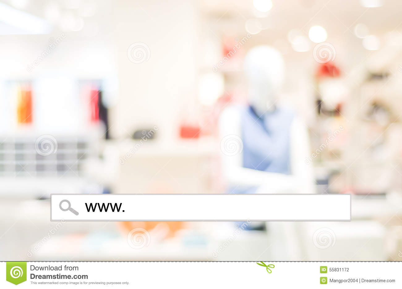 Background image e - Blur Store And Bokeh Light With Address Bar Online Shopping Background Stock Photography