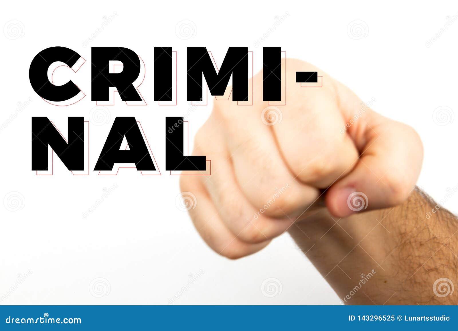 Blured男性长毛的手显示象征危险、罪行、打击、战斗隔绝在白色背景和文本'罪犯的拳头