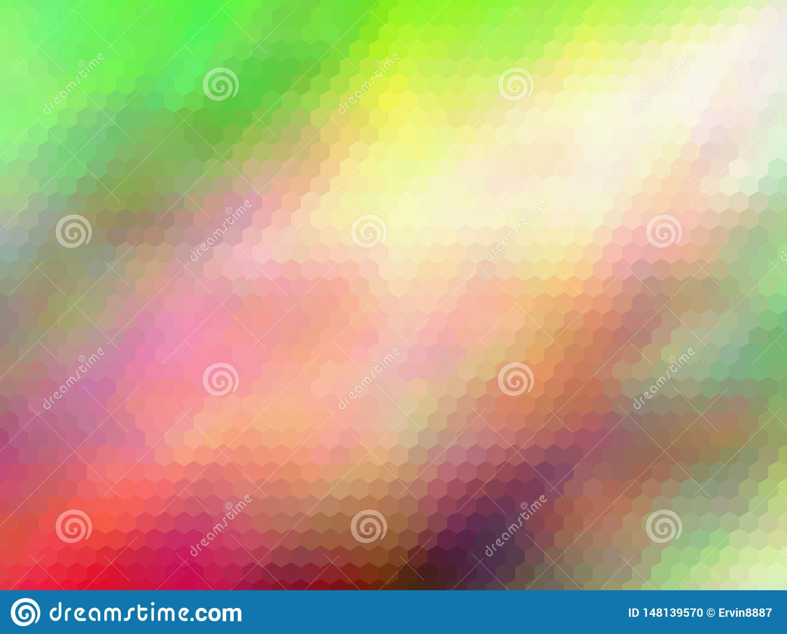 Blurred abstract background. Multicolor hexagonally pixeled abstract background.