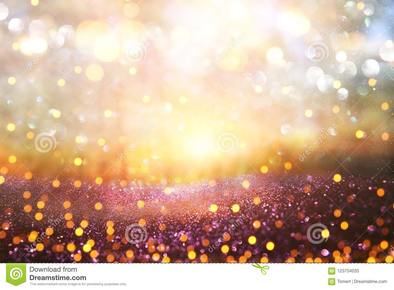Blurred abstract photo of light burst among trees and glitter go
