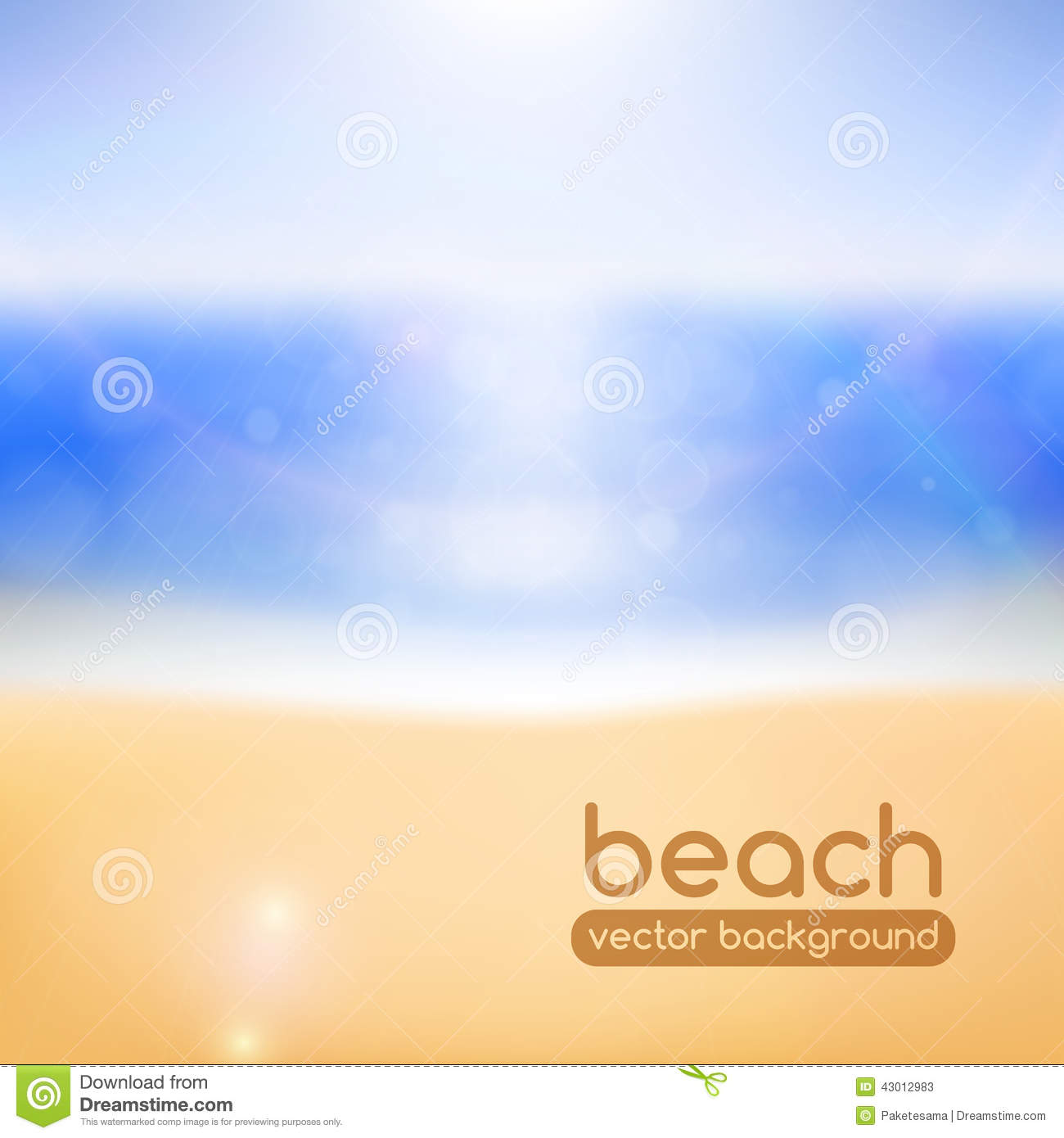 Background Of Blurred Beach And Sea Waves With Bokeh: Blurred Beach Background Stock Vector