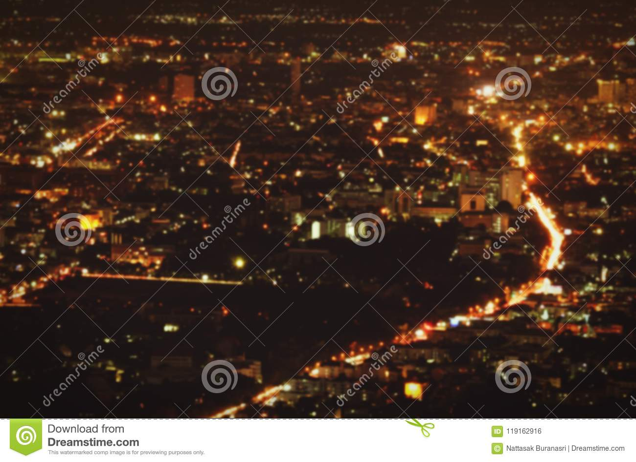 Blurred beautiful landscape of city night, road and light background