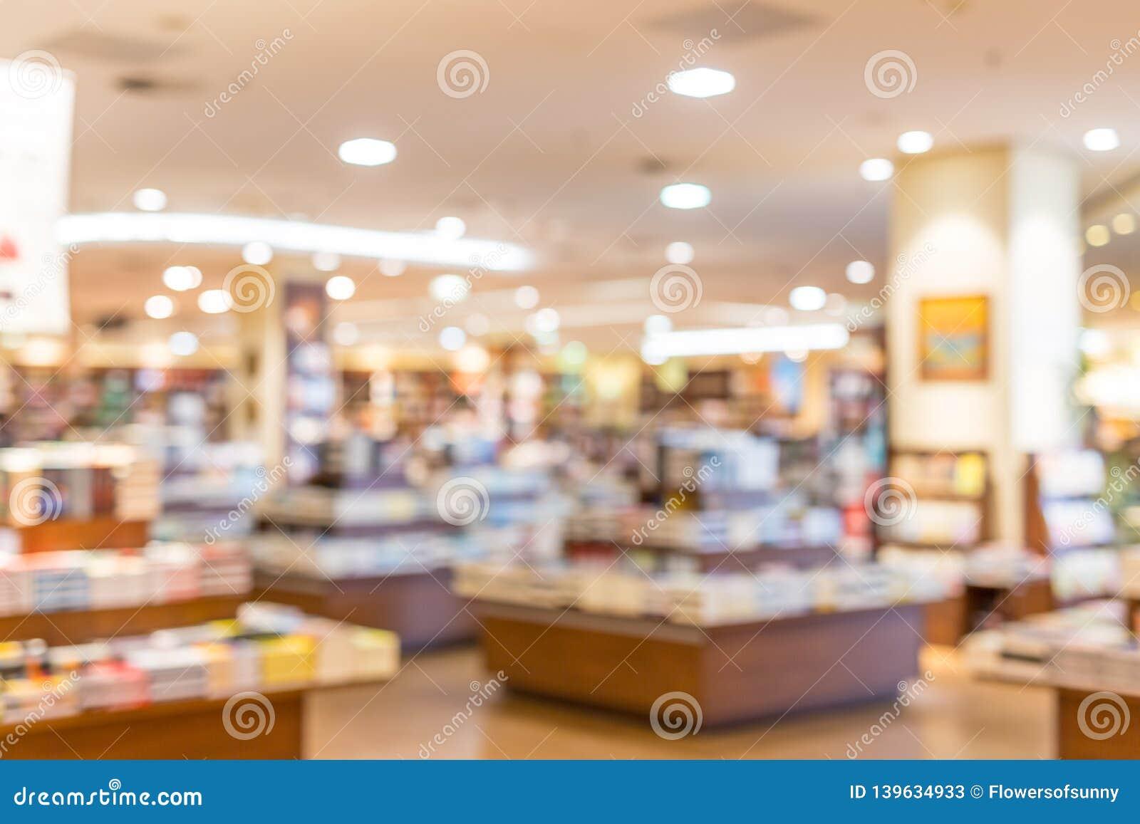 De focused, blur image of a bookstore. Bookstore background