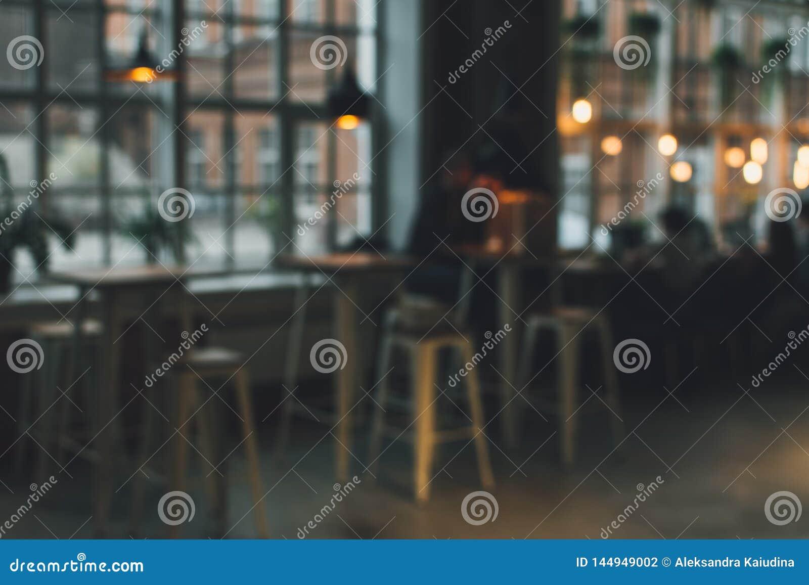 Blurred cafe background.