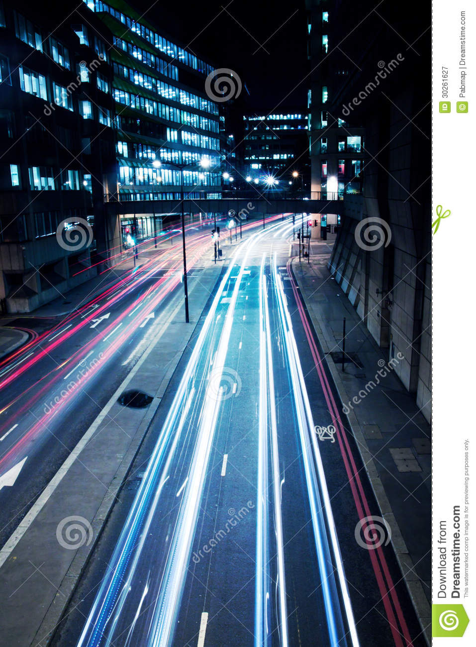 Cars Lights On London Street By Night Royalty Free Stock ...  Cars Lights On ...