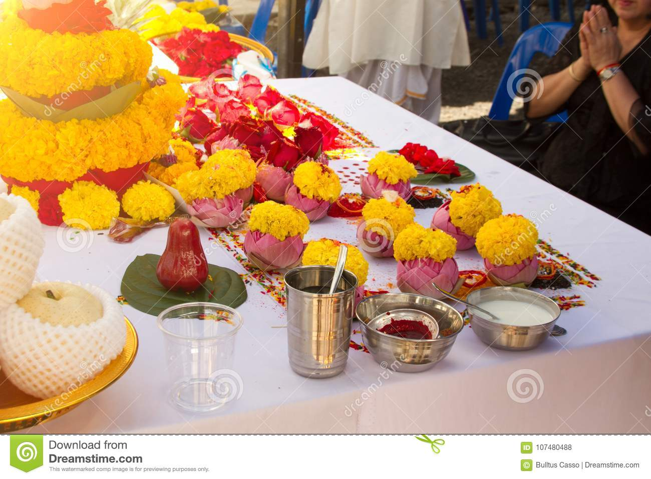 Blurred The Ceremony Of Brahmins With God Genesha Of India Stock