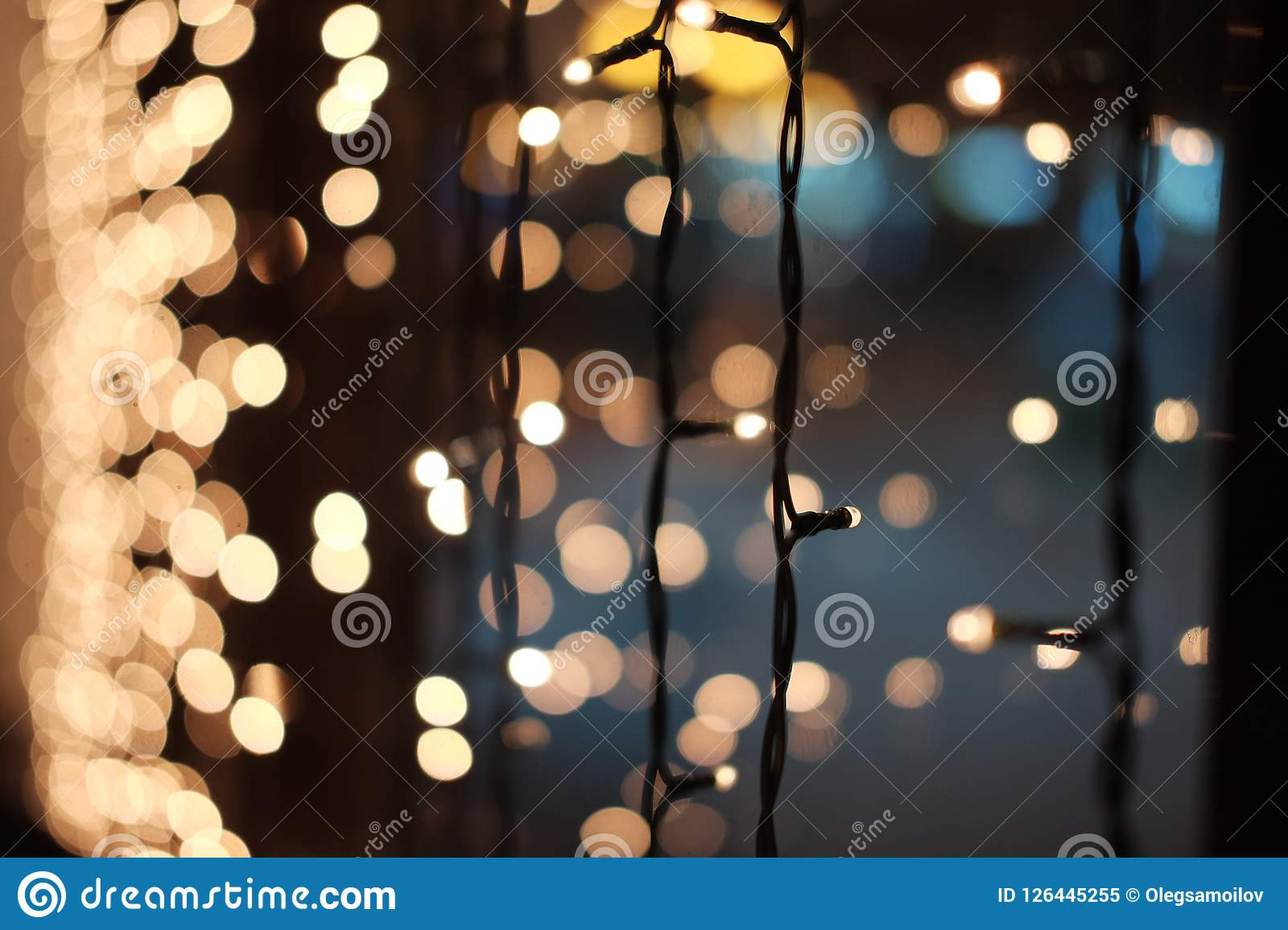 download blurred christmas lights christmas garland on the window stock image image of card