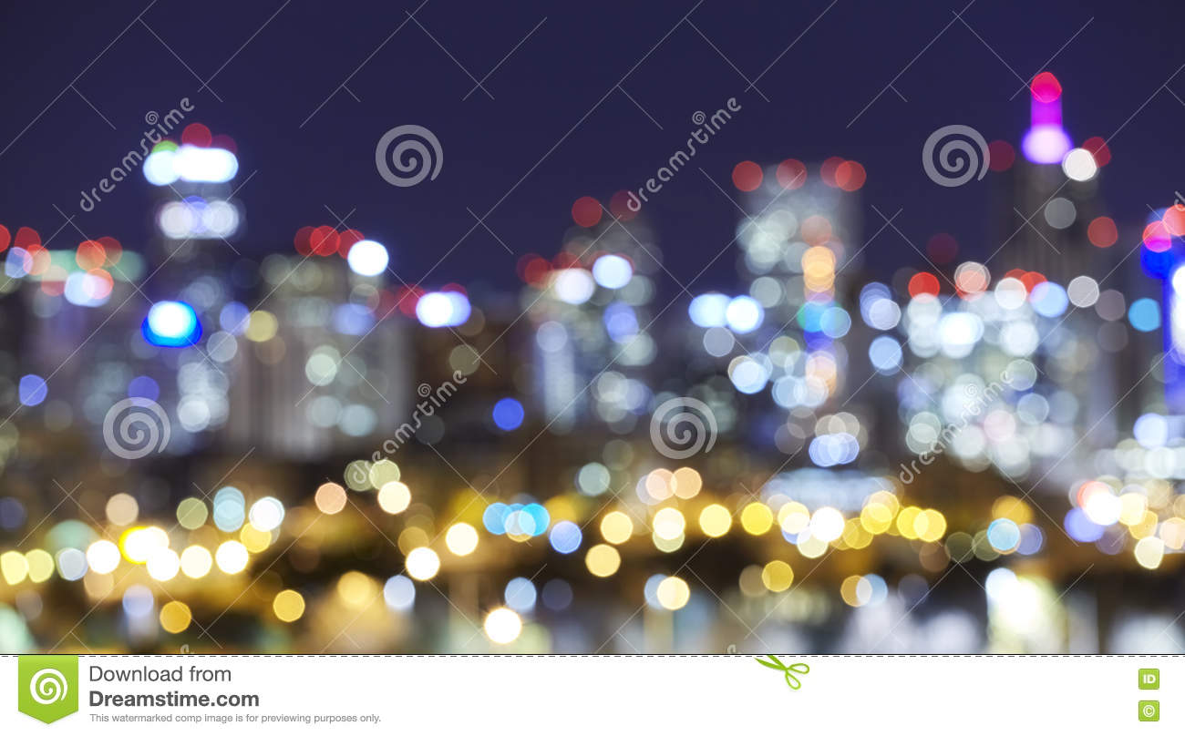 Blurred Denver Skyline City Lights At Night, Urban Abstract Background.